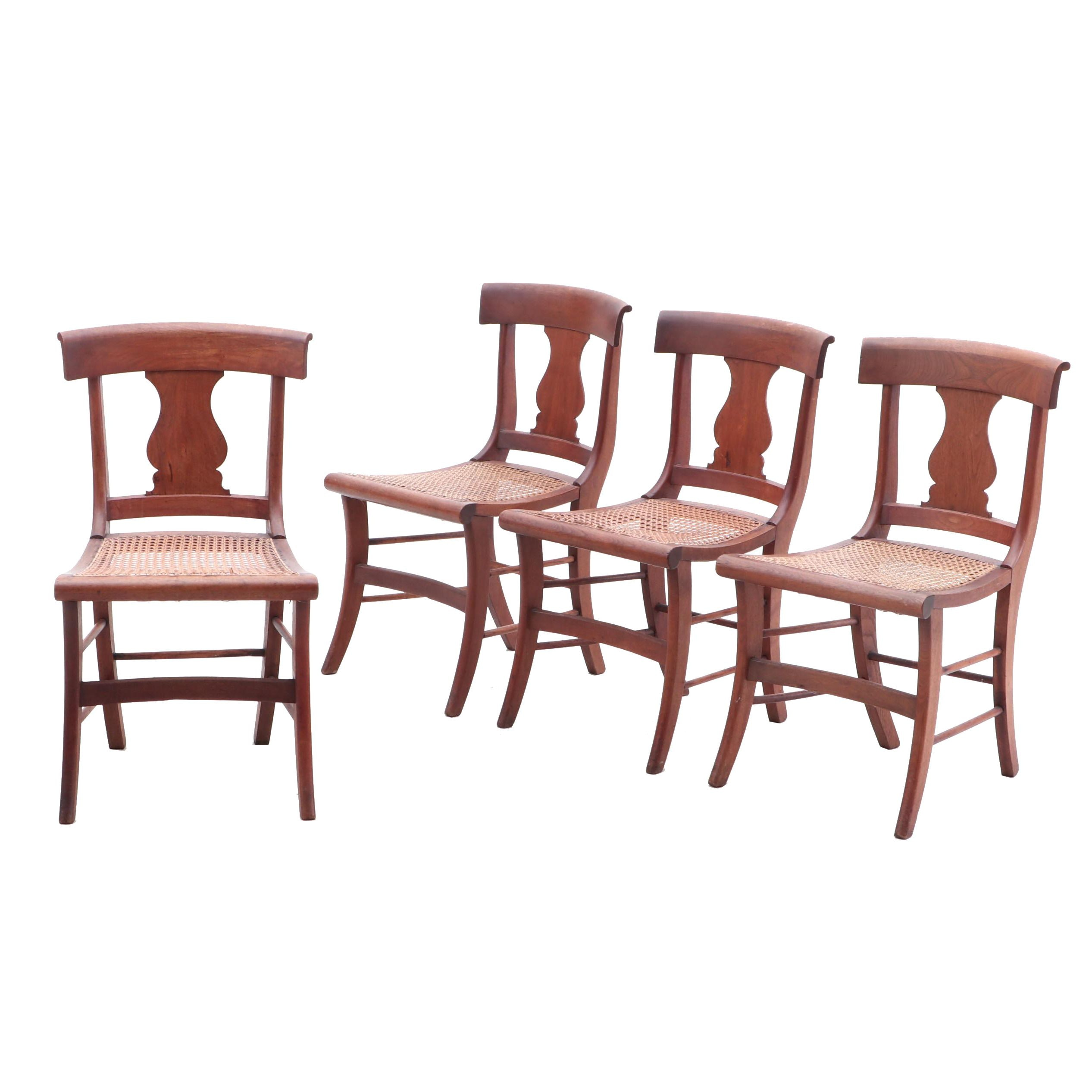 Federal Style Lyre-Back Spline Cane Chairs, Mid 20th Century