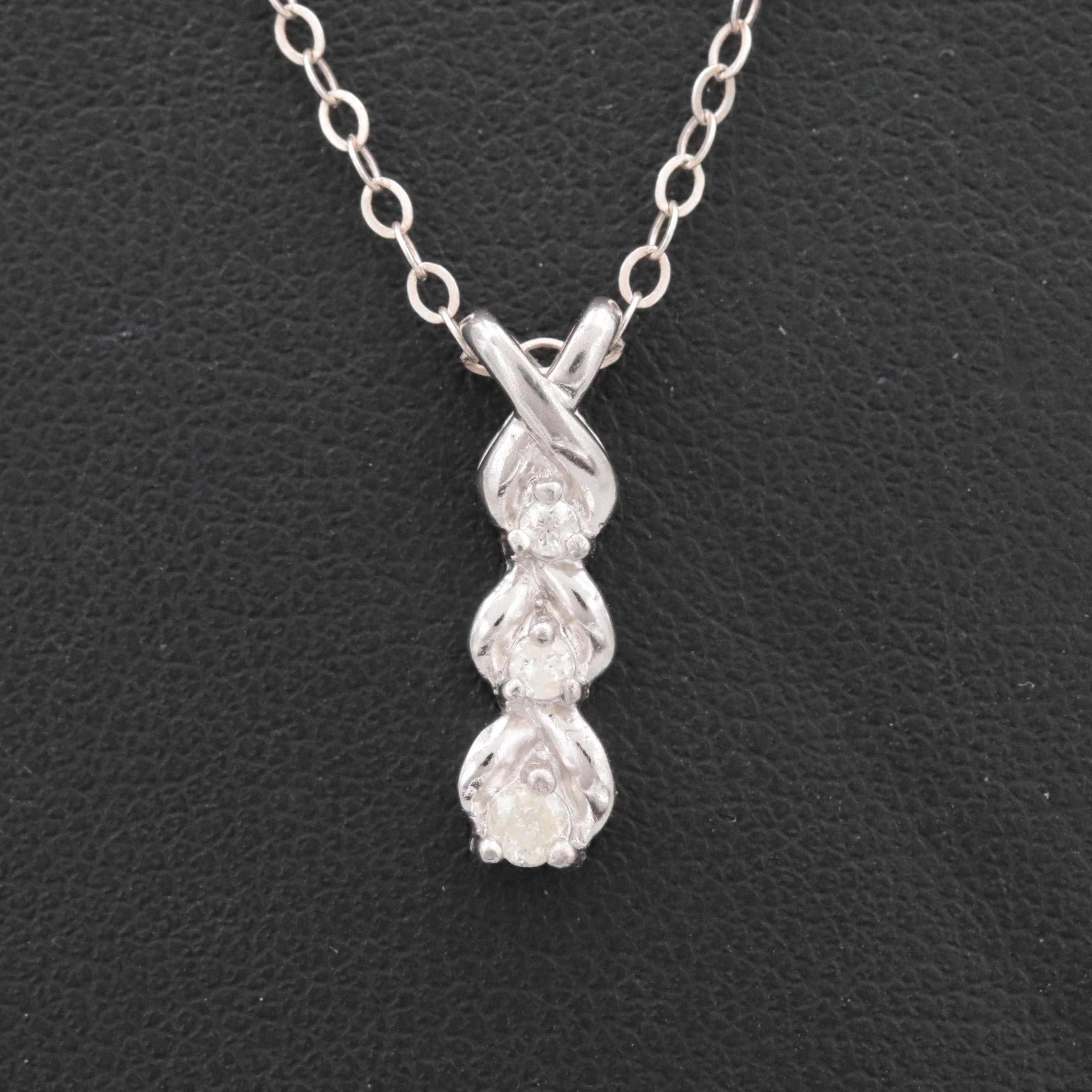 Sterling Silver Diamond Necklace