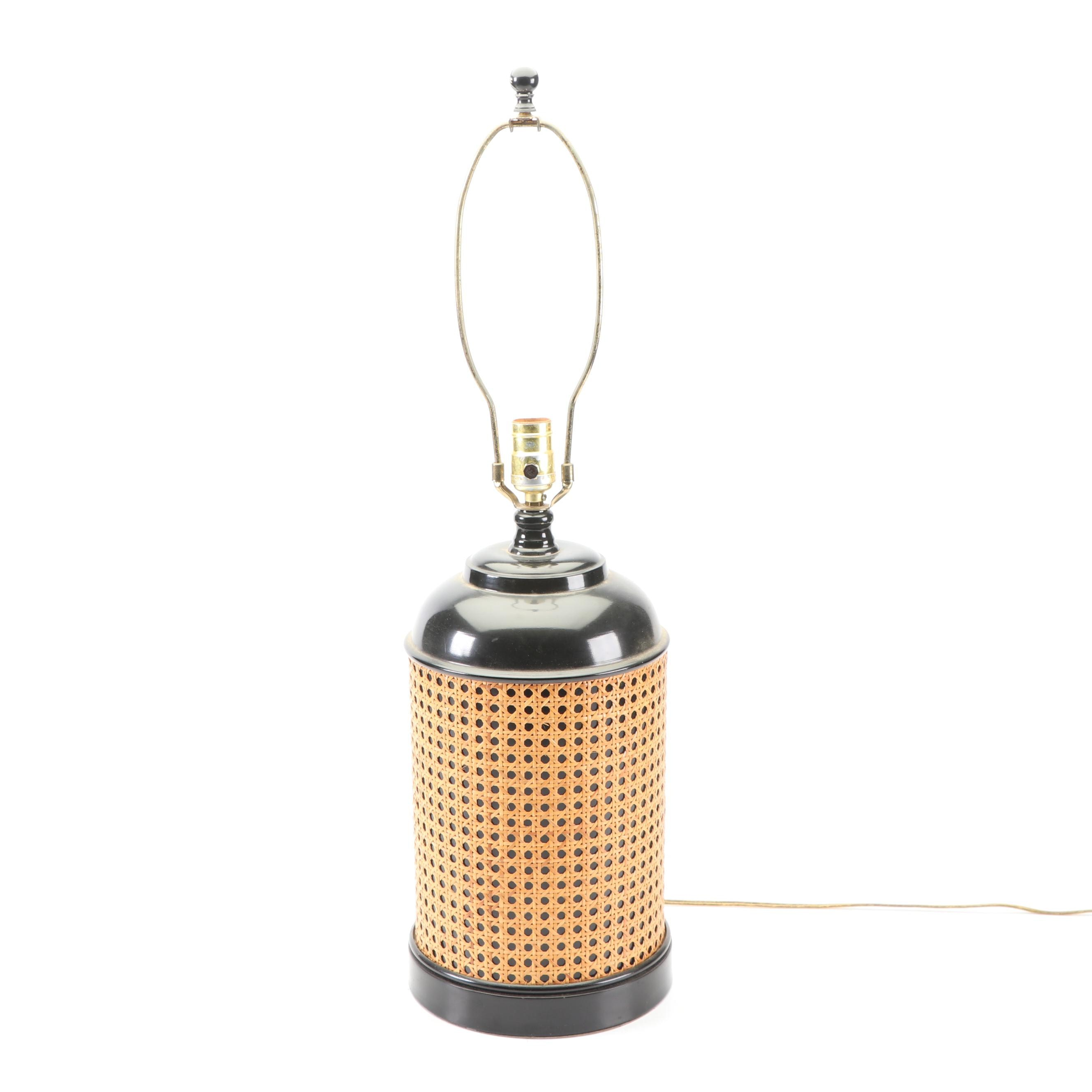 Black Table Lamp with Caning