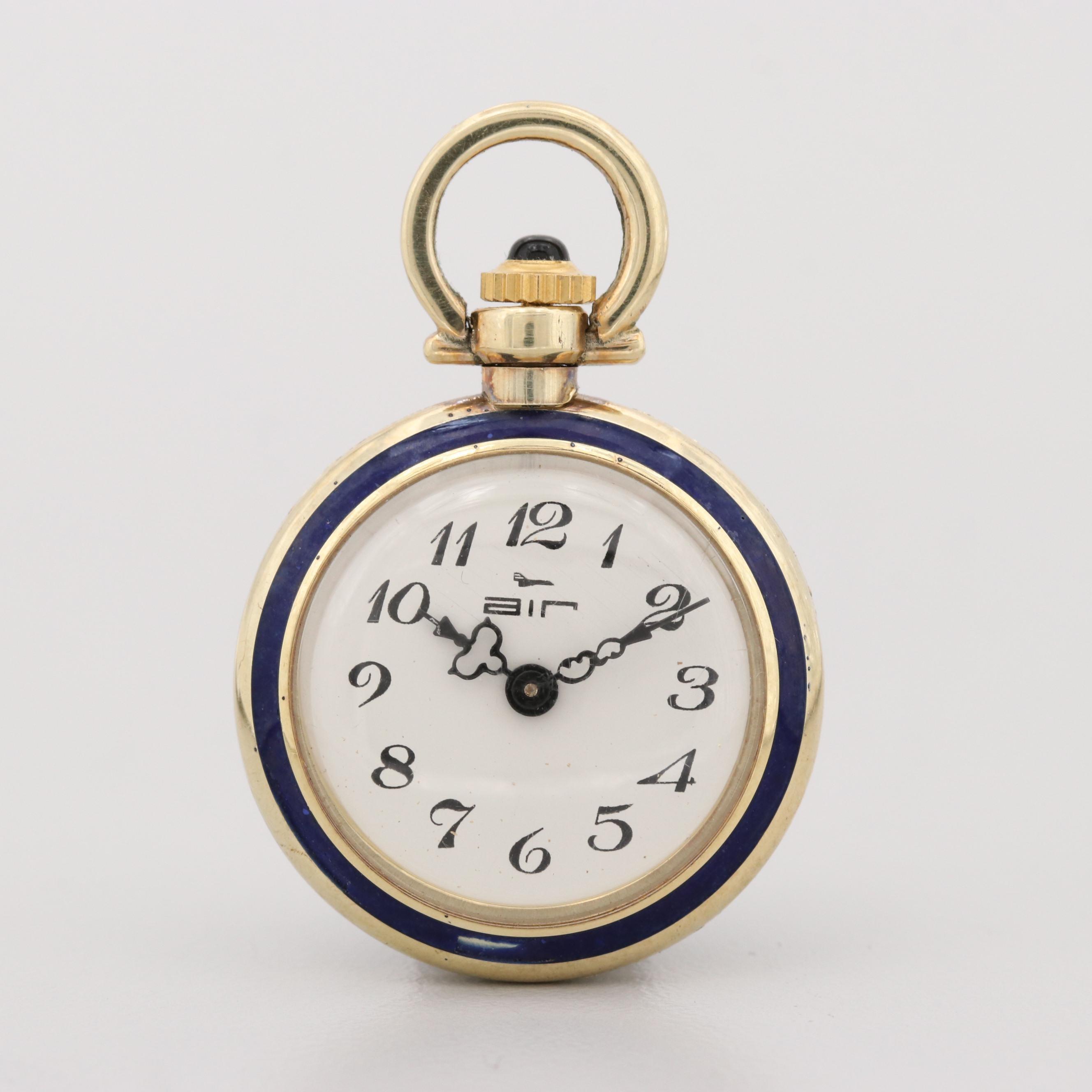 Air 14K Yellow Gold Enameled Pocket Watch