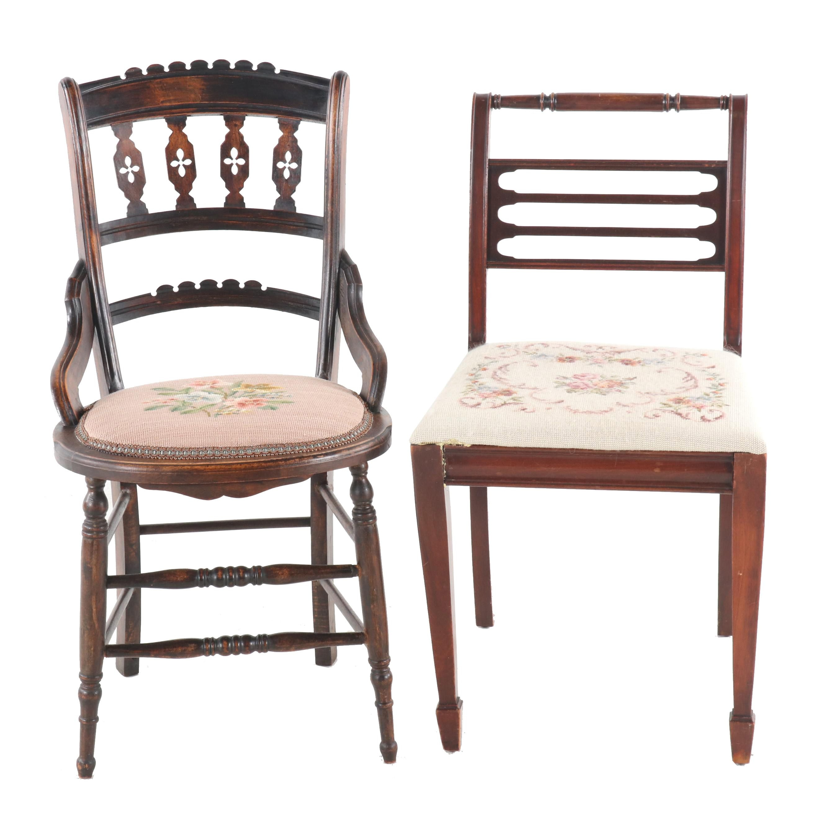 Needlepoint Seat Wooden Side Chairs, Various Ages