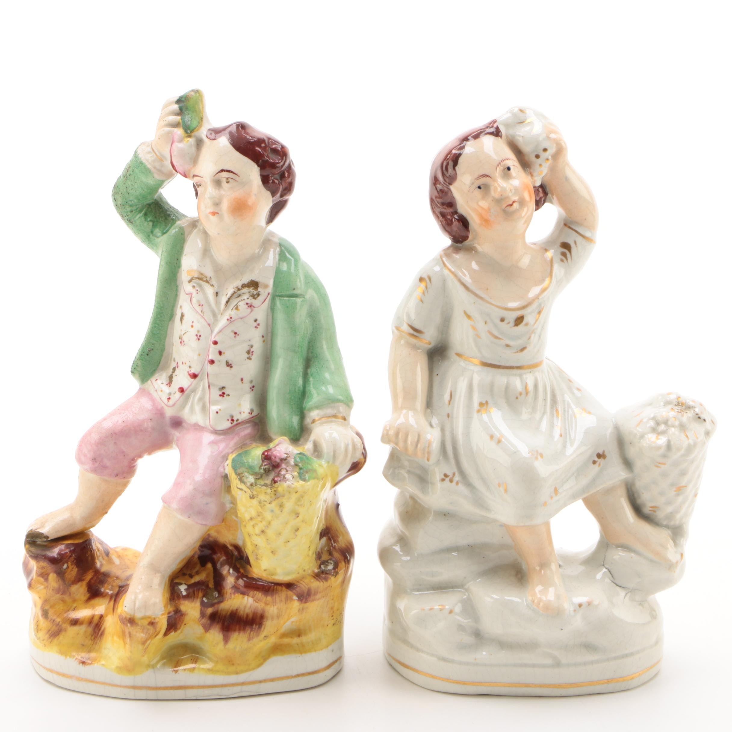 Staffordshire Ceramic Figurines of Boy and Girl, Mid/Late 19th Century