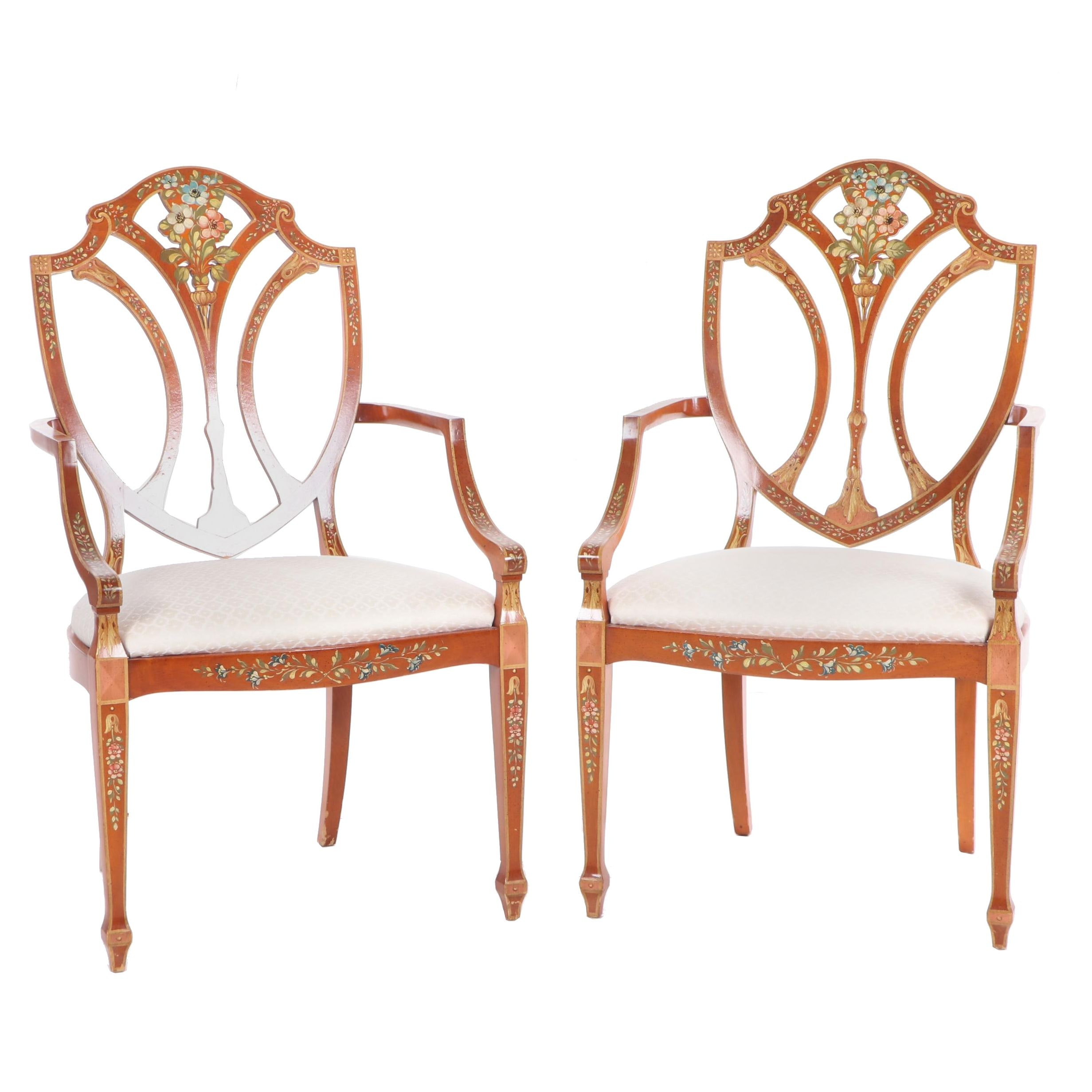 Contemporary Paint Decorated Hepplewhite Style Armchairs, 20th Century