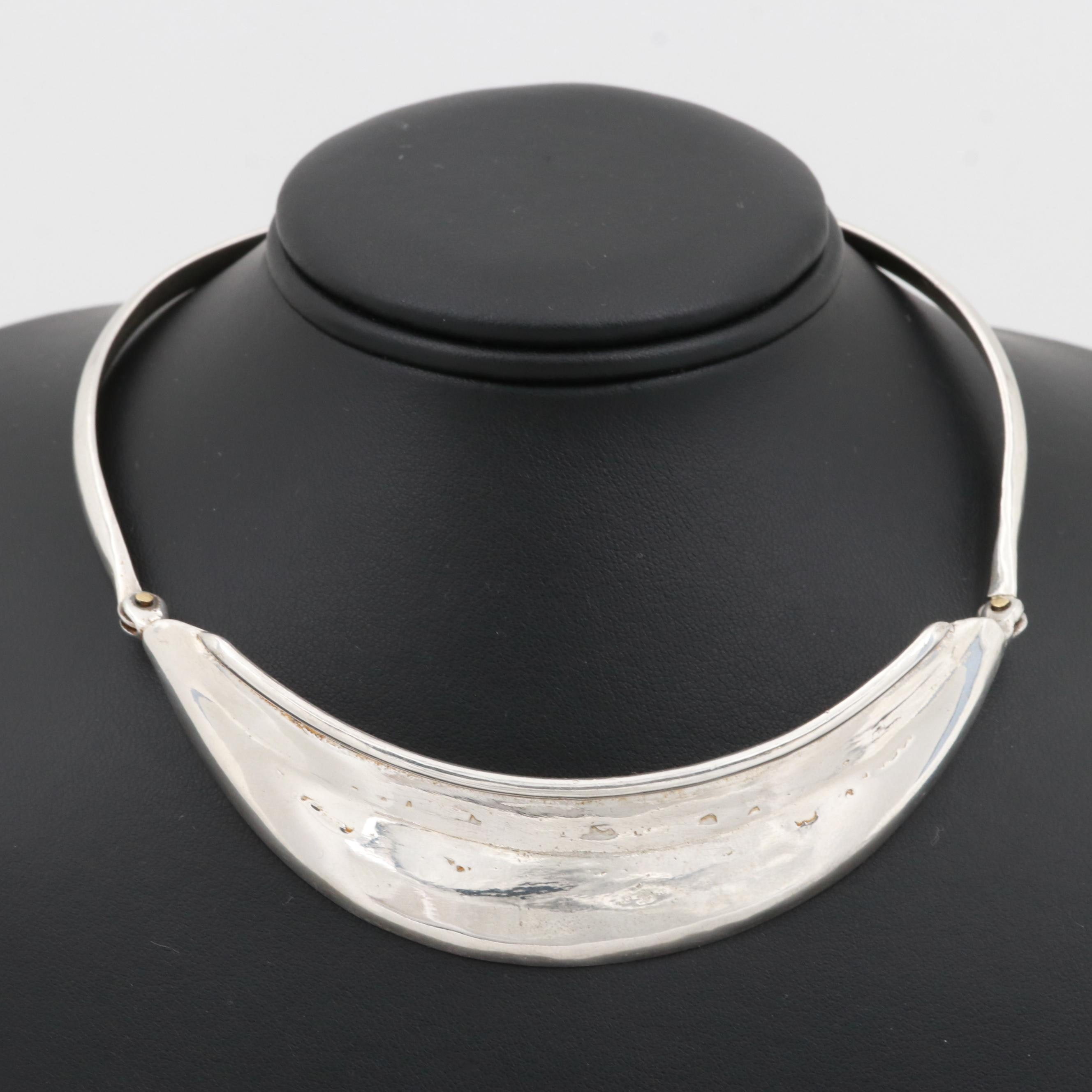 Sterling Silver Collar Necklace with Gold Tone Accent