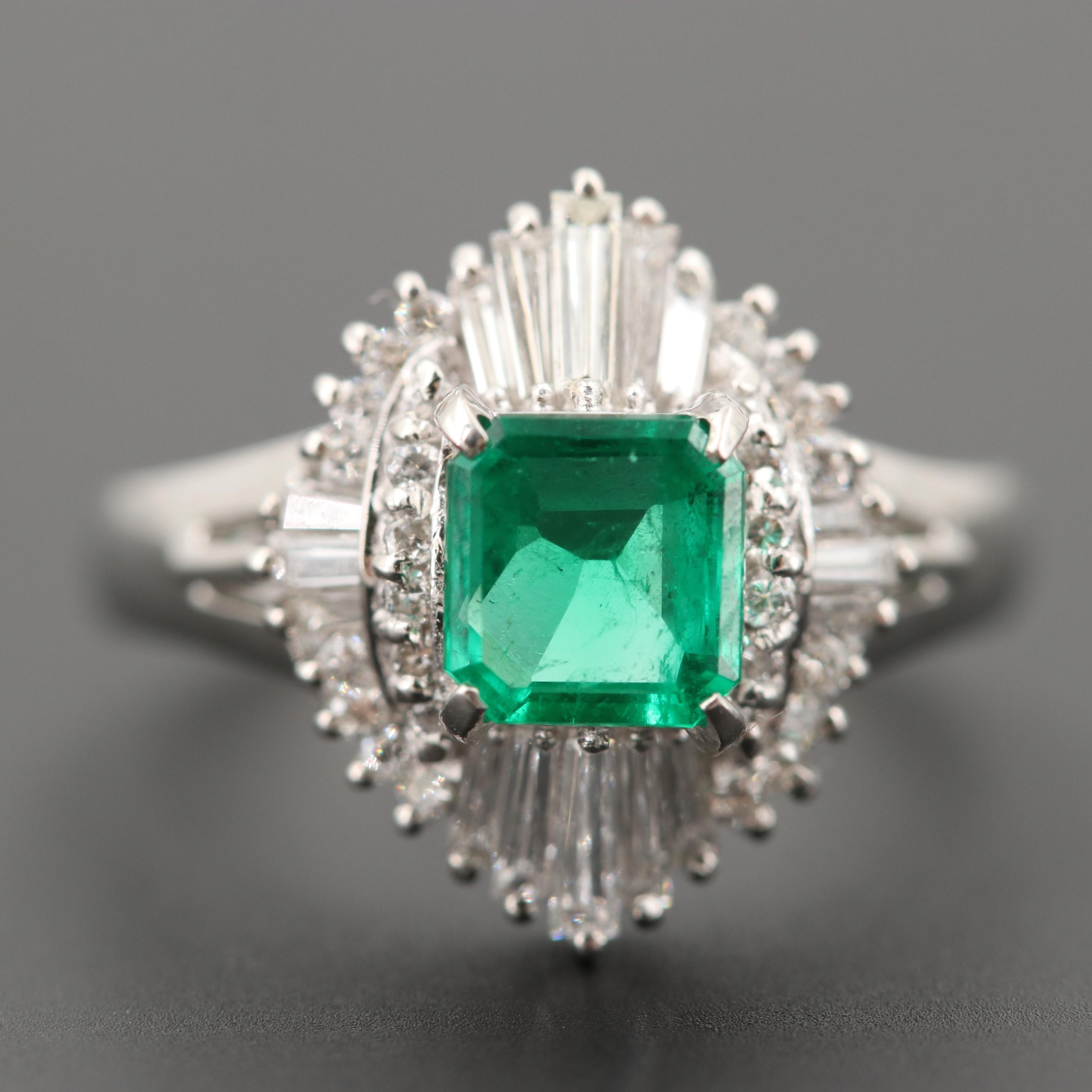 Vintage Platinum Ballerina Style Emerald and Diamond Ring