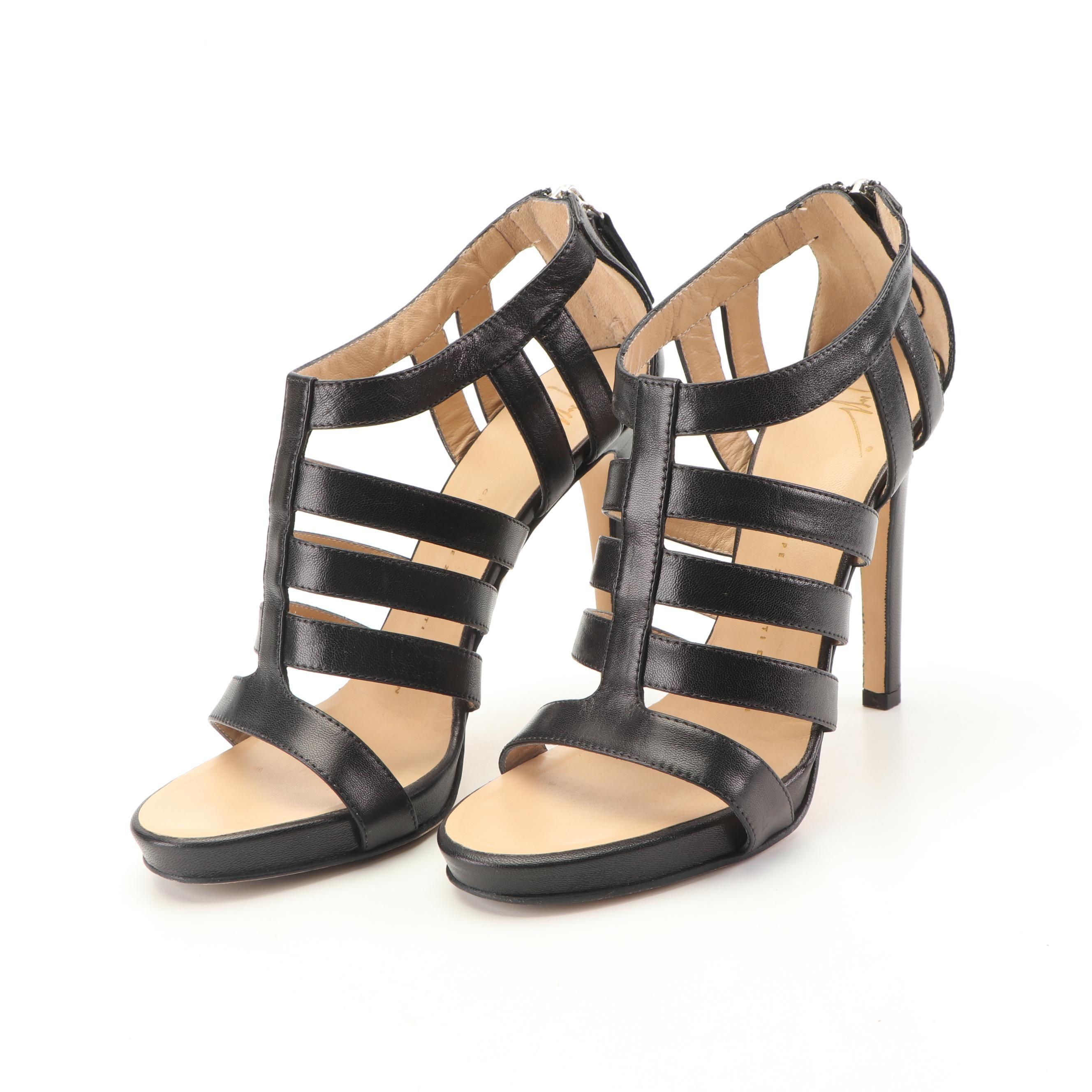 Giuseppe Zanotti Black Leather High-Heeled Gladiator Sandals
