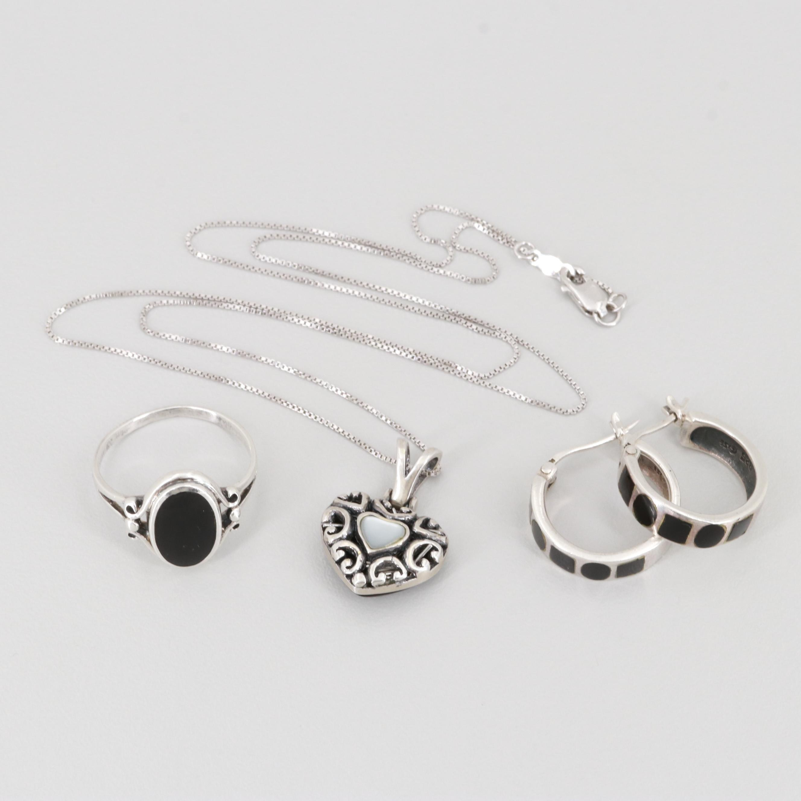 Sterling Silver Obsidian, Onyx and Mother of Pearl Necklace, Earrings, and Ring