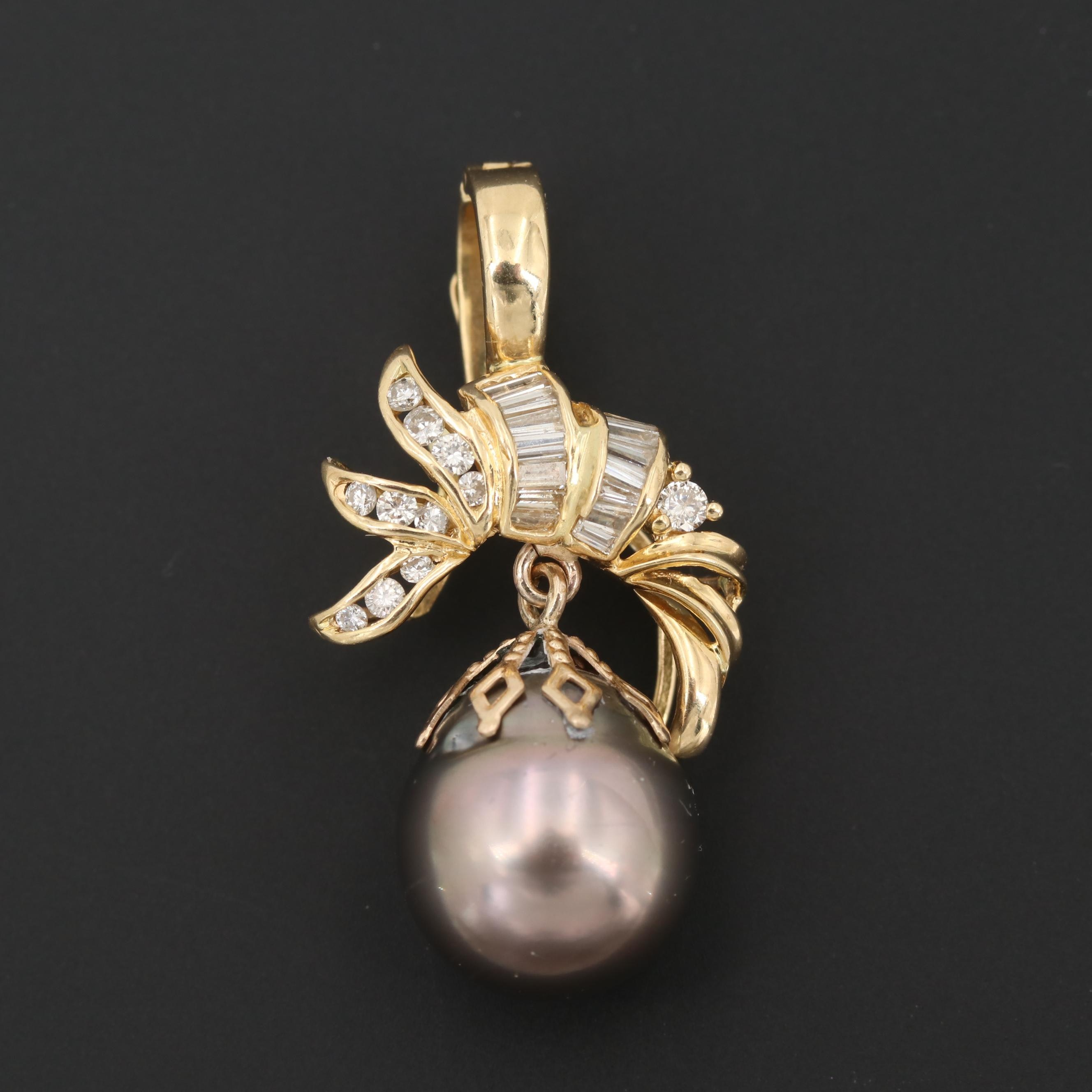 18K Yellow Gold Cultured Pearl and Diamond Enhancer Pendant