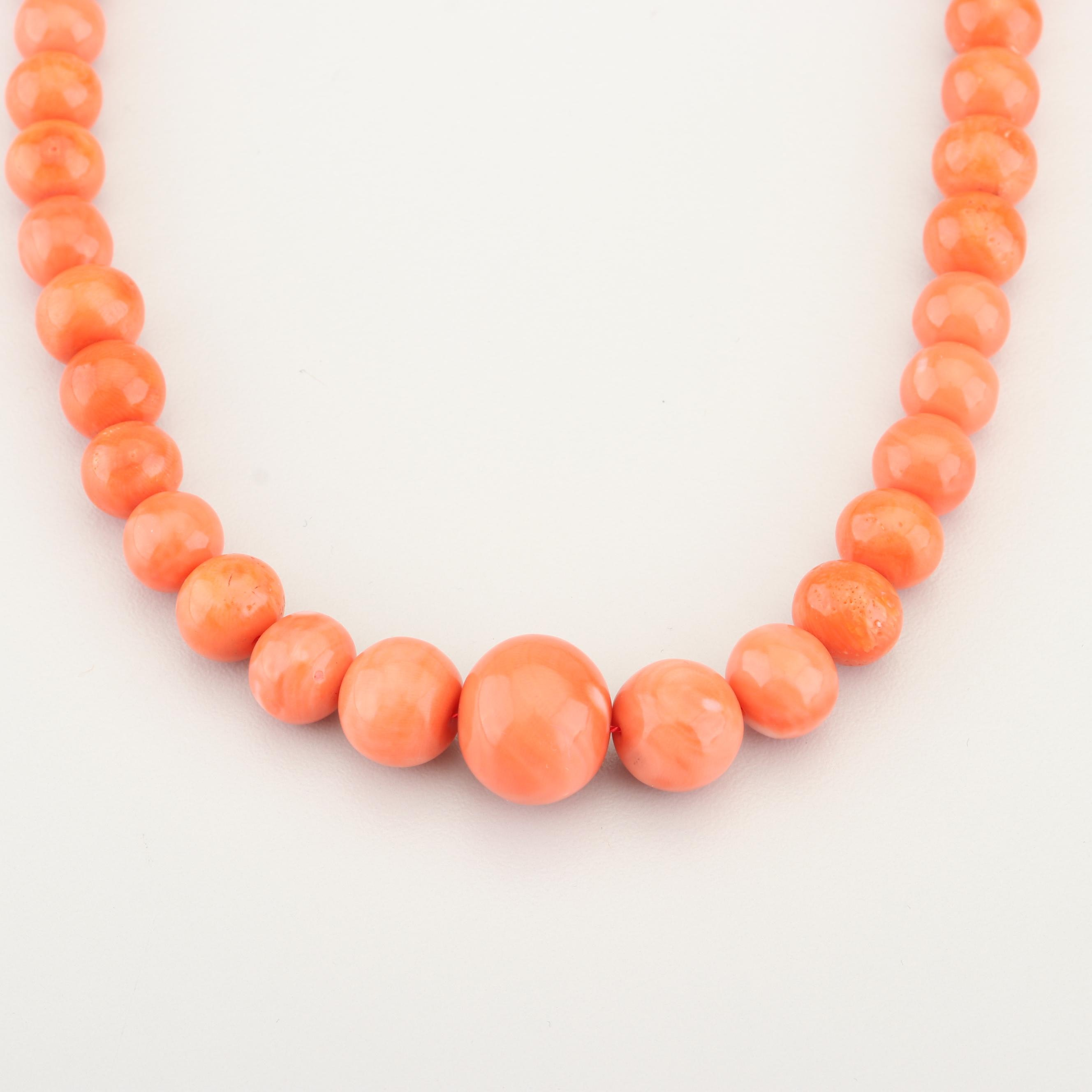 Pink Coral Graduated Bead Necklace with 14K Yellow Gold Clasp