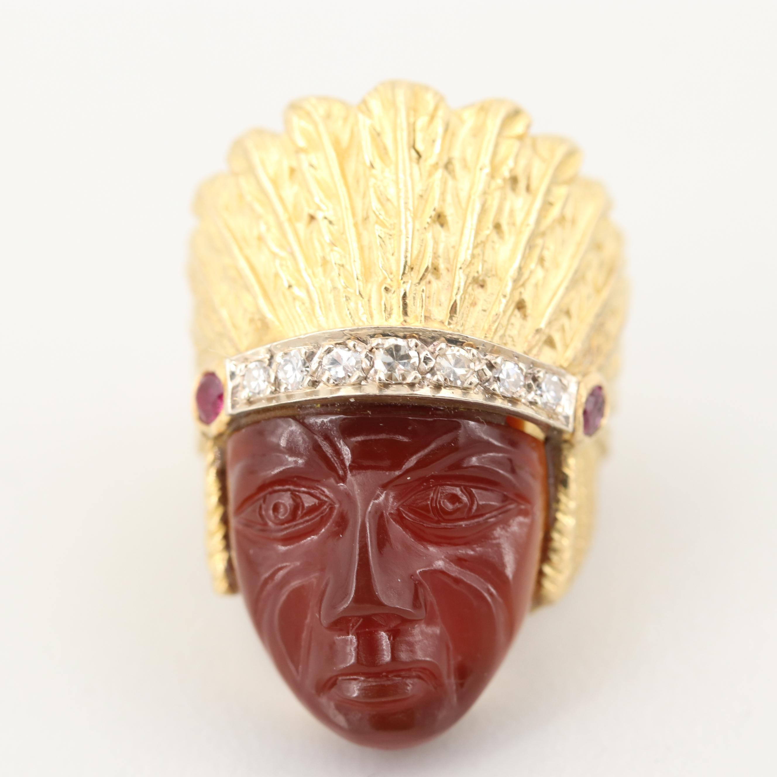 Vintage 14K Yellow Gold Carved Sard, Ruby and Diamond Native American Chief Ring
