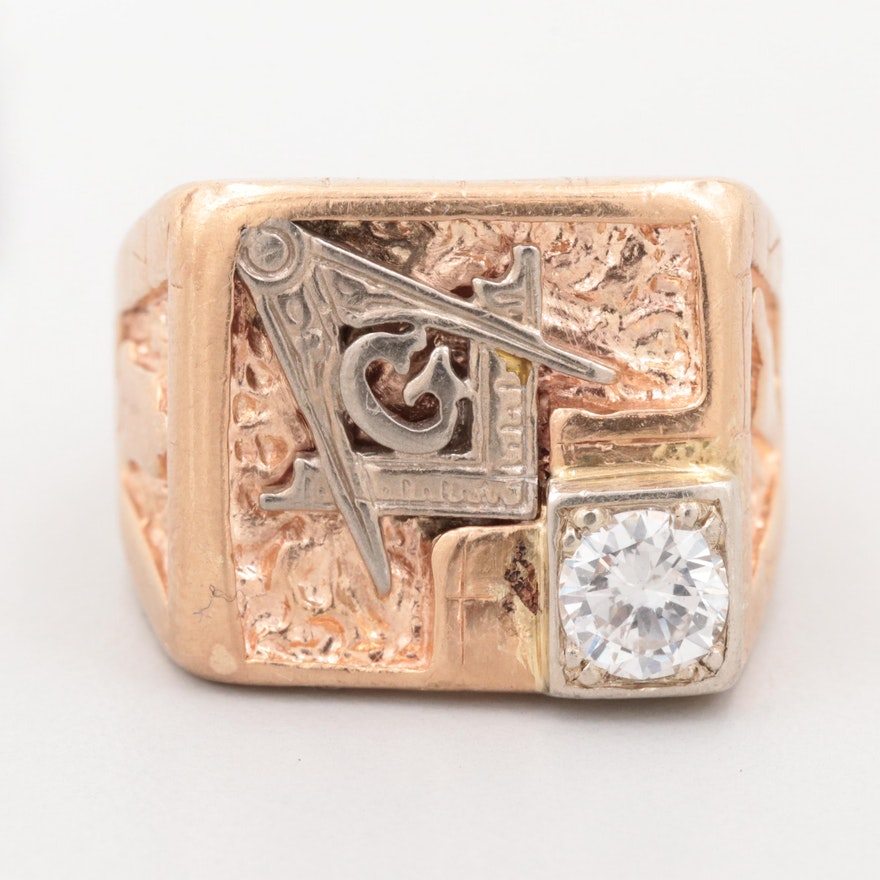 Vintage 10K Tri-Color Gold Diamond Masonic Ring