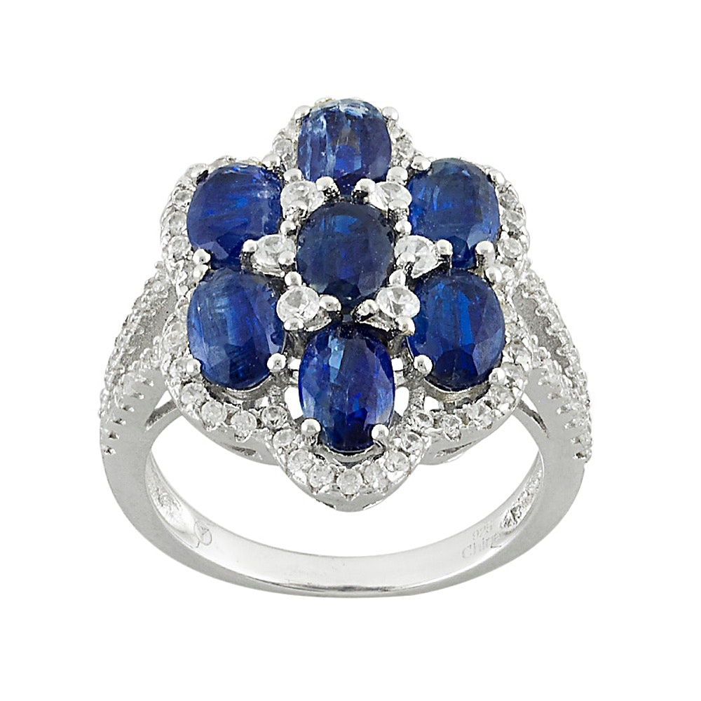 Sterling Silver Kyanite and Zircon Ring