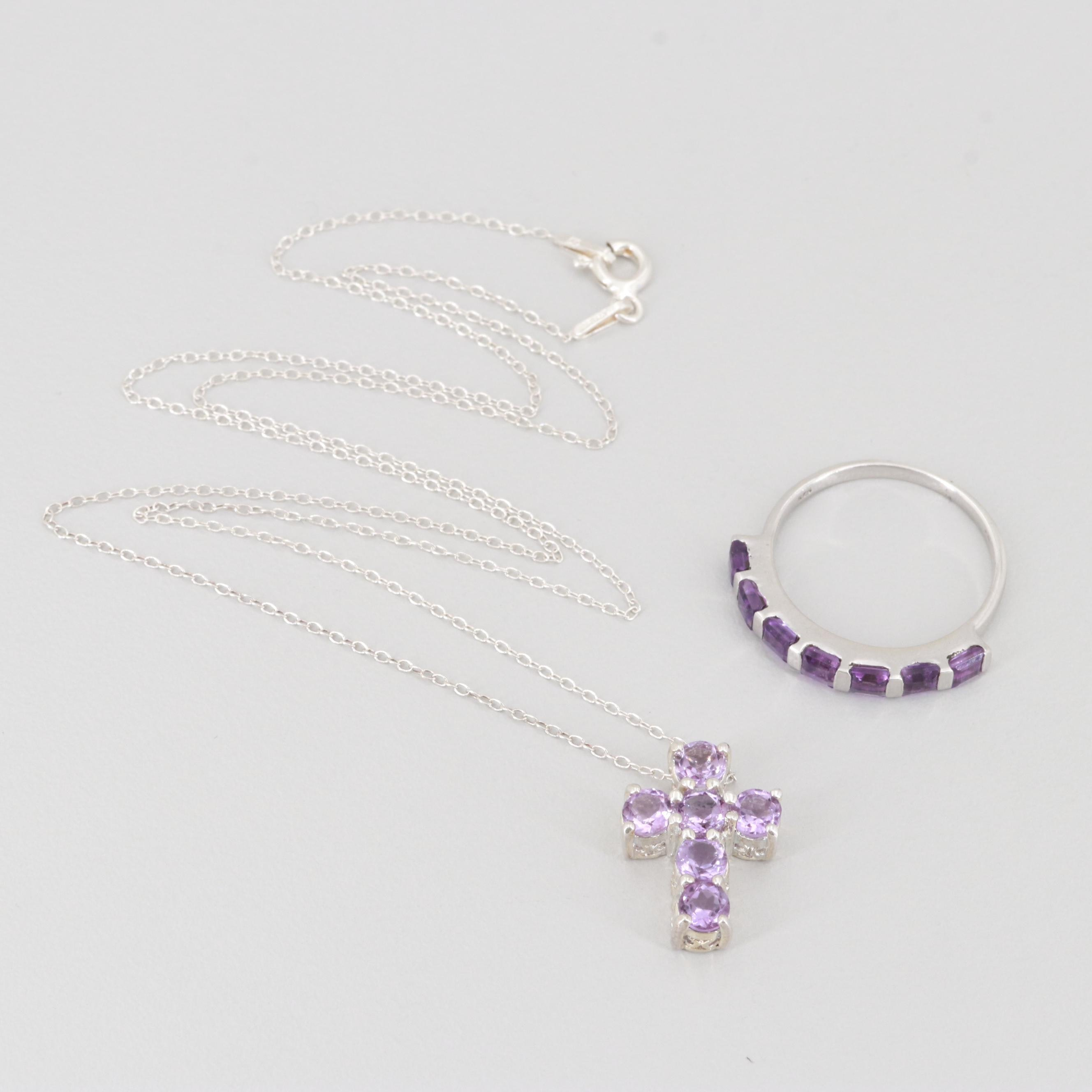 Sterling Silver Amethyst Cross Necklace and Ring