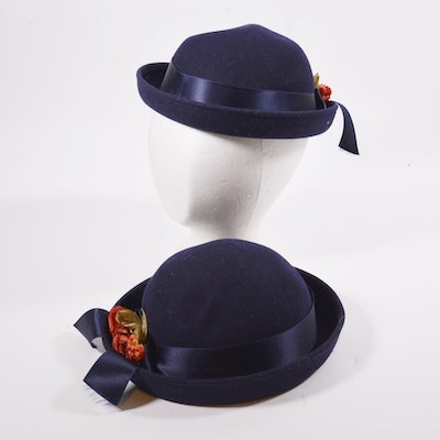 24476fb375c6a Girls  Italian Navy Blue Felt Wool Bowler Hats with Faux Florals and Satin  Band