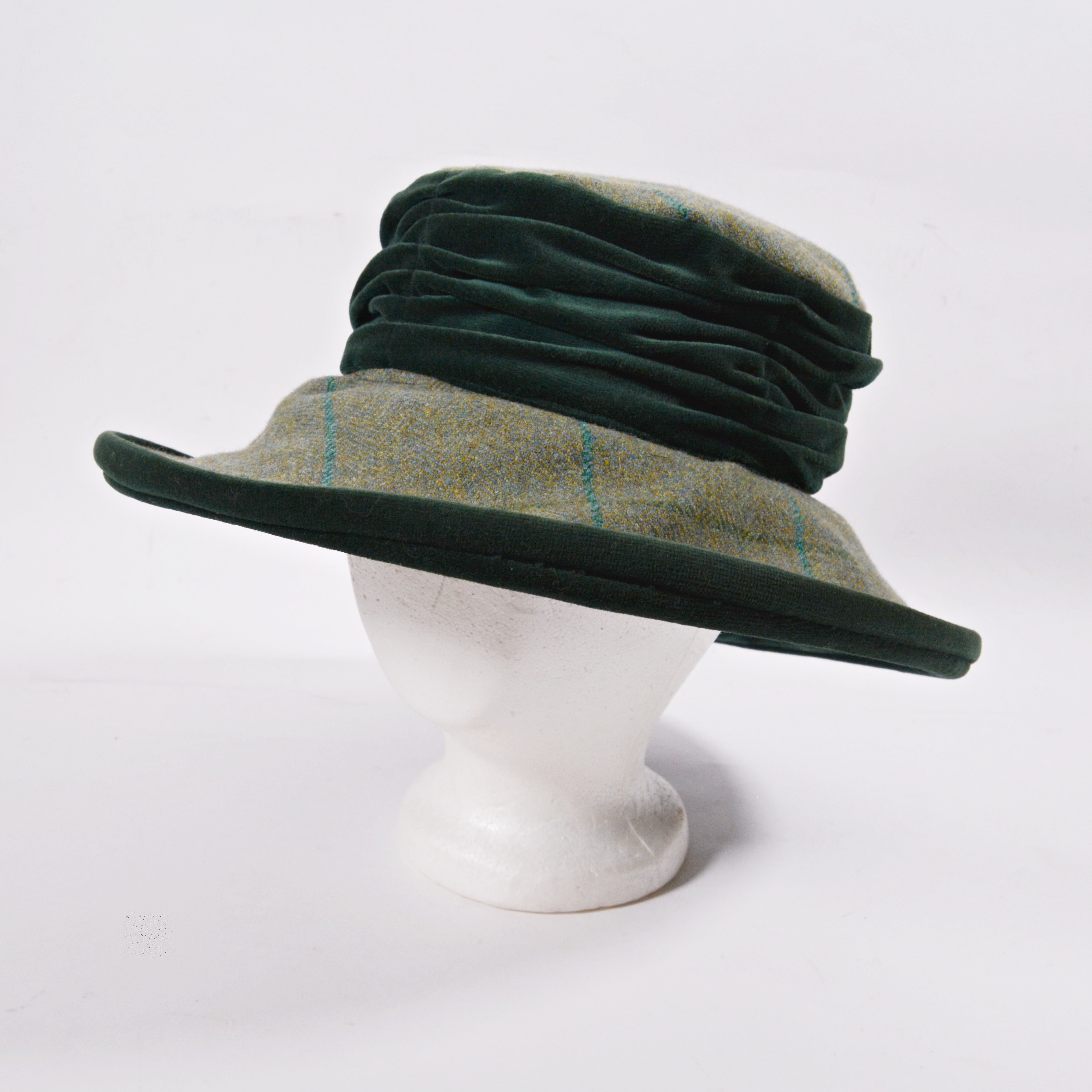 Women's Montana Collection Wool Plaid and Green Velvet Trimmed Hat