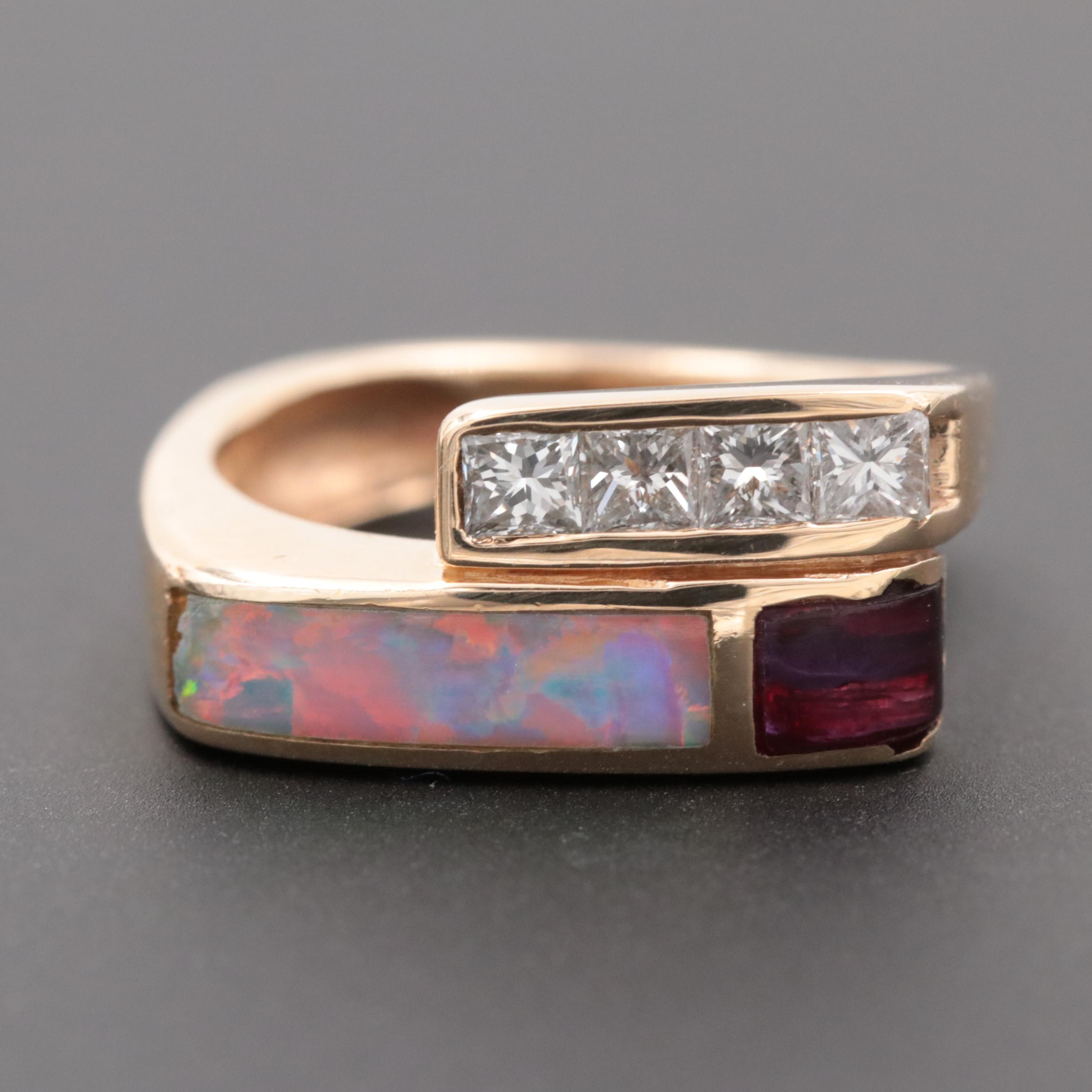 14K Yellow Gold Diamond, Opal and Amethyst Ring