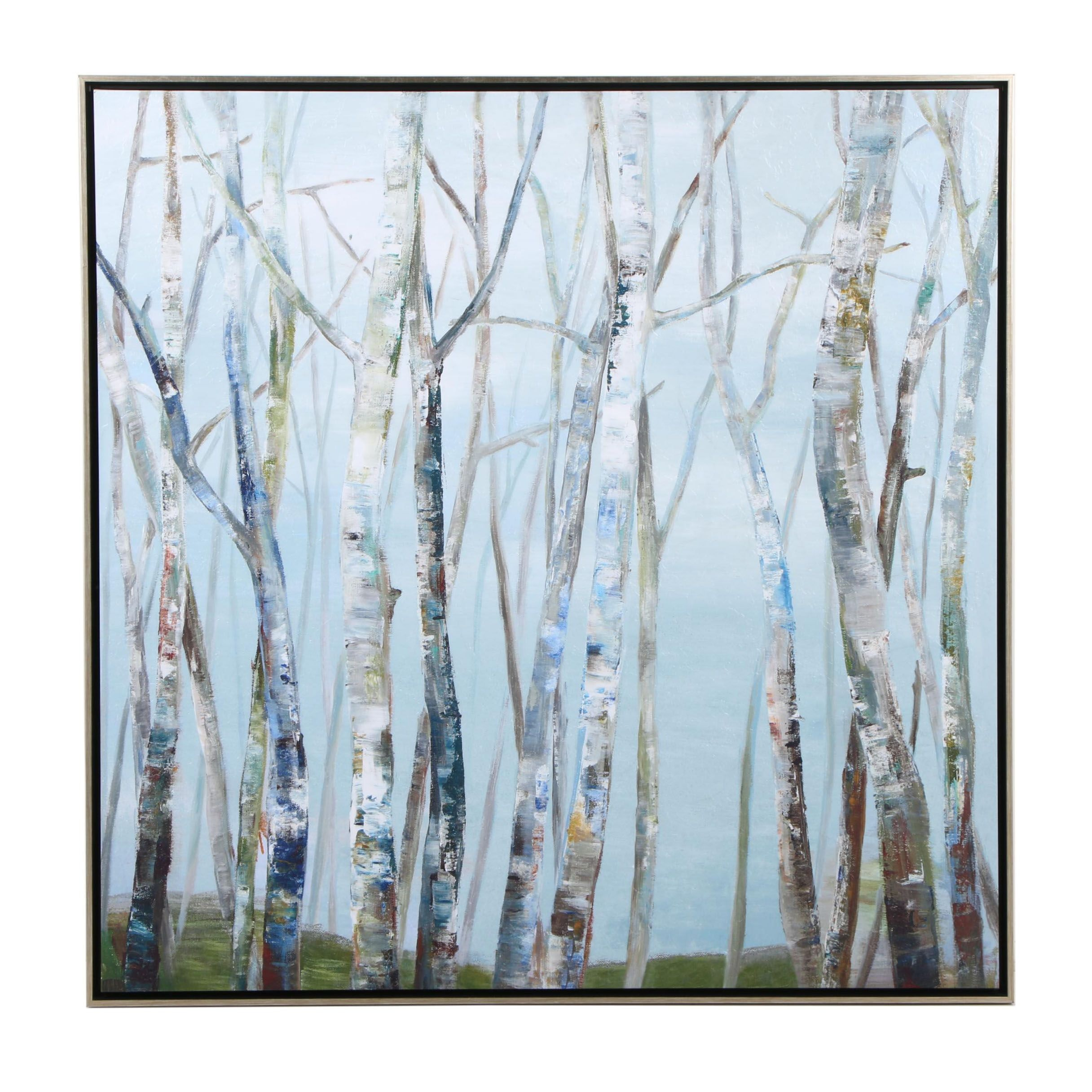 Contemporary Abstract Birch Trees Embellished Giclee