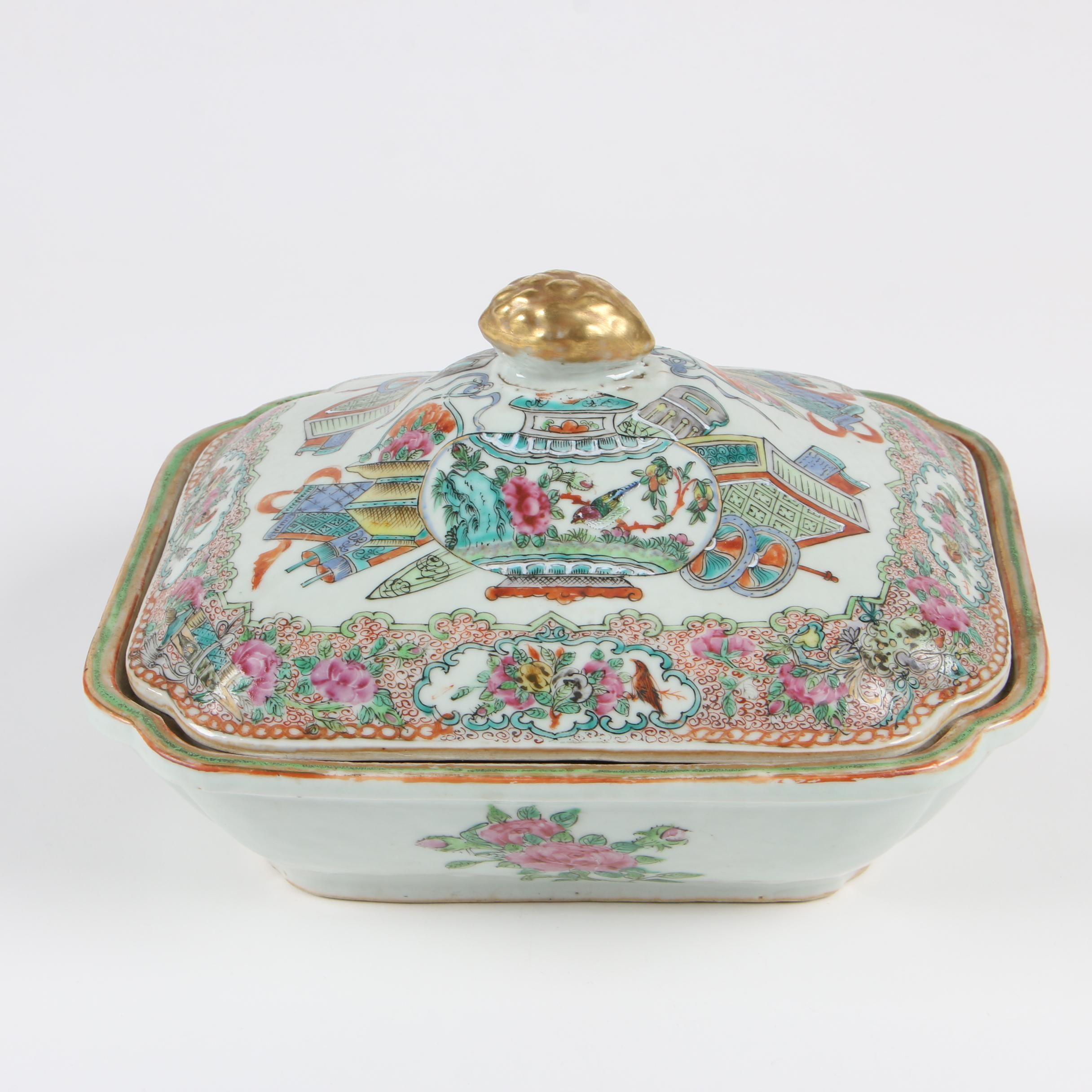 "Chinese ""Rose Medallion"" Porcelain Covered Dish"