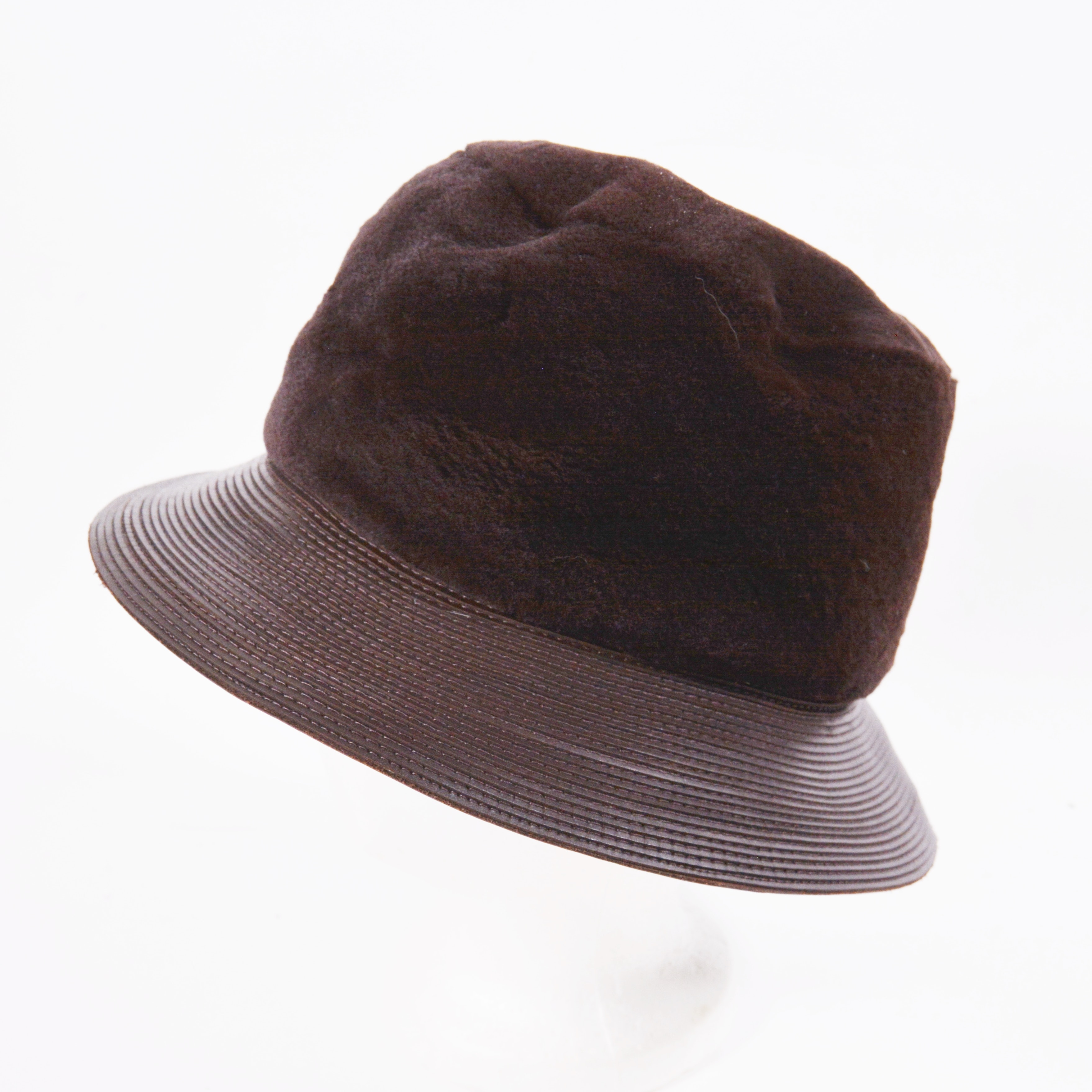 Patricia Underwood for J. Mendel Paris Sheared Mahogany Mink Fur and Leather Hat