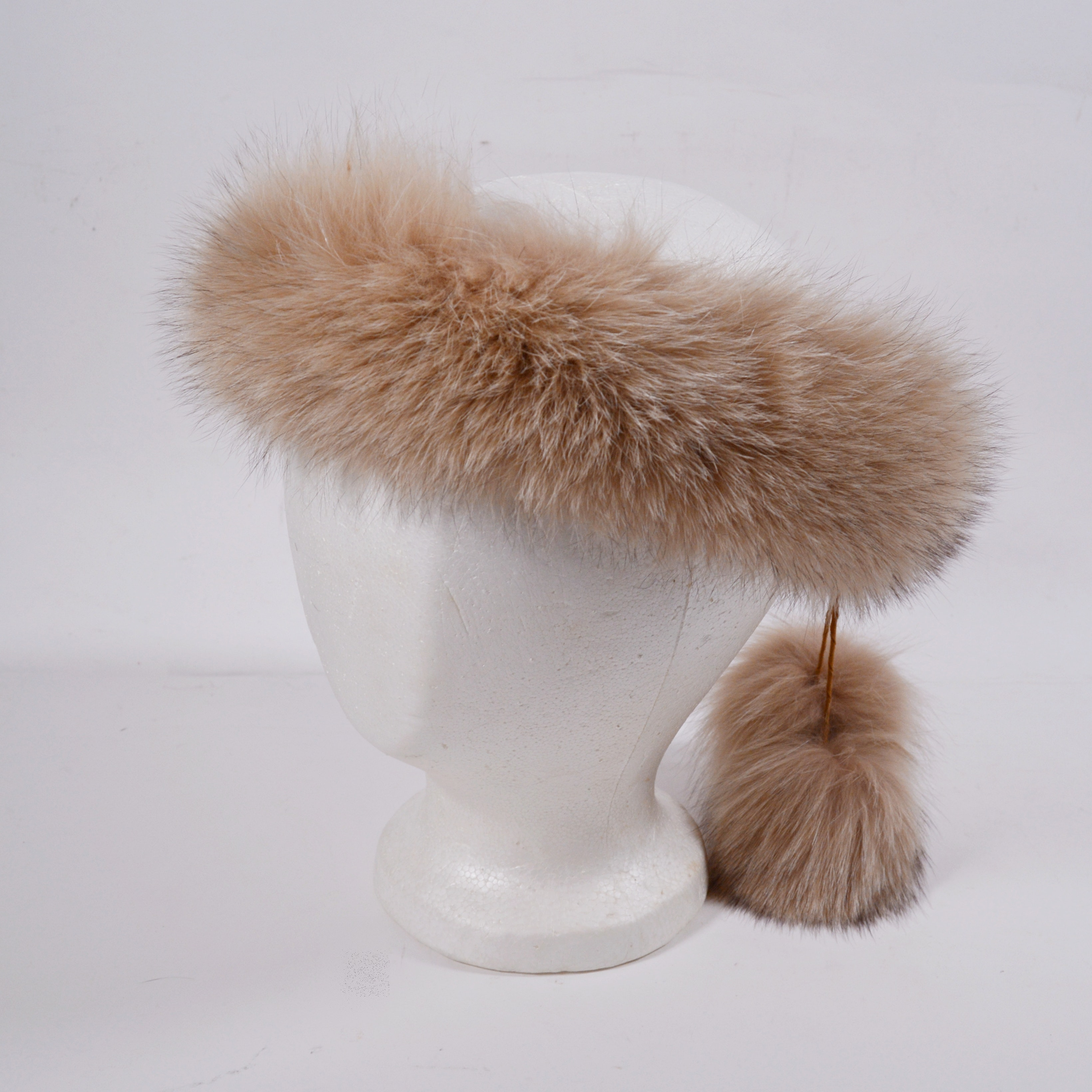 Women's Fox Fur Headband with Pom Poms