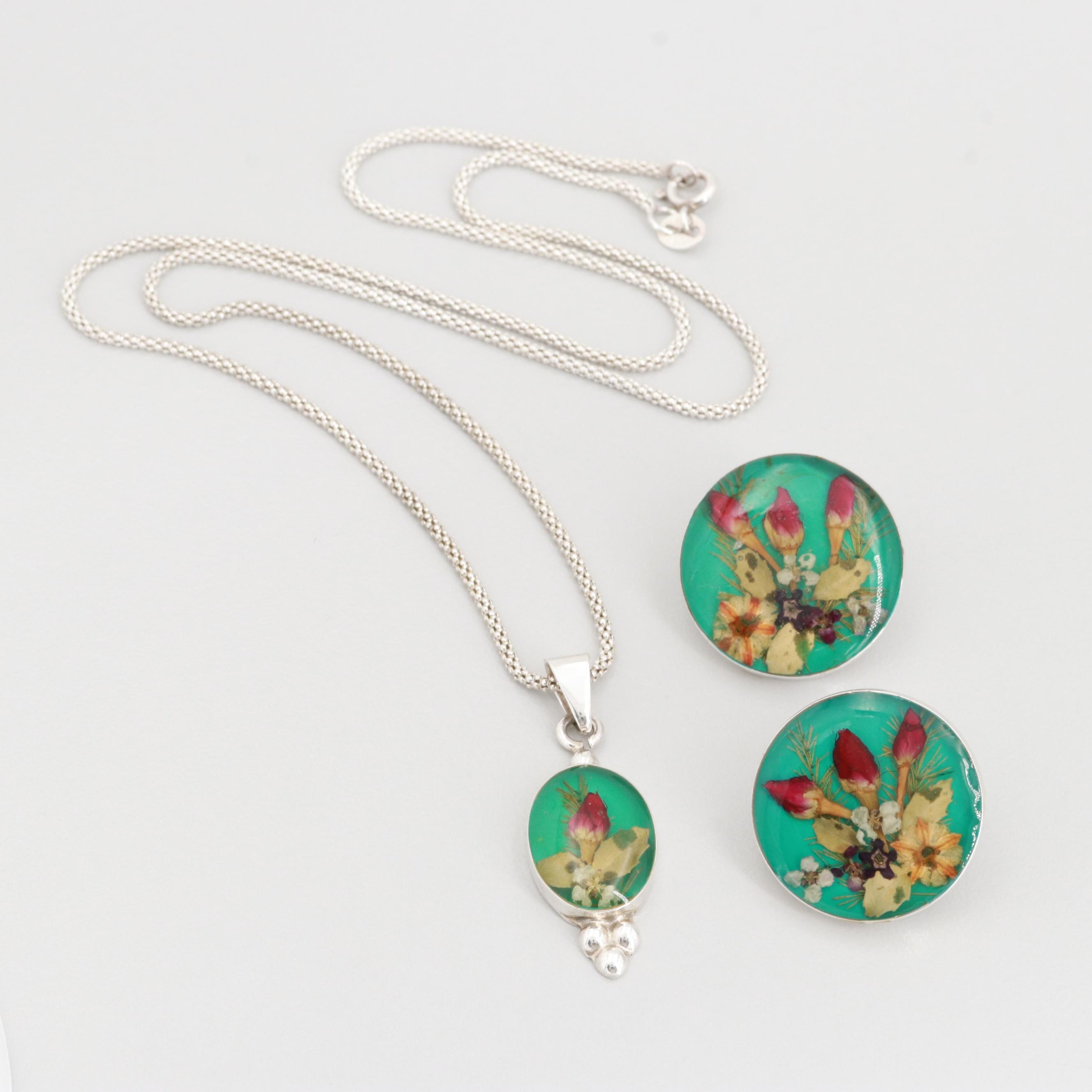 """Taxco Sterling Silver """"Floral Botanical Under Resin""""Necklace and Earrings"""