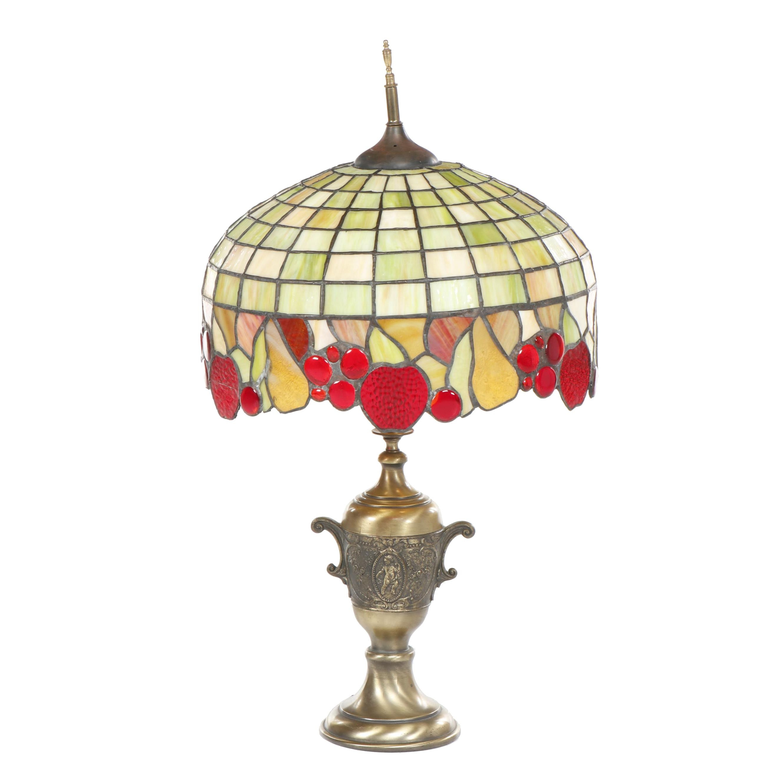 Neoclassical Style Brass Table Lamp with Slag and Stained Glass Fruit Shade