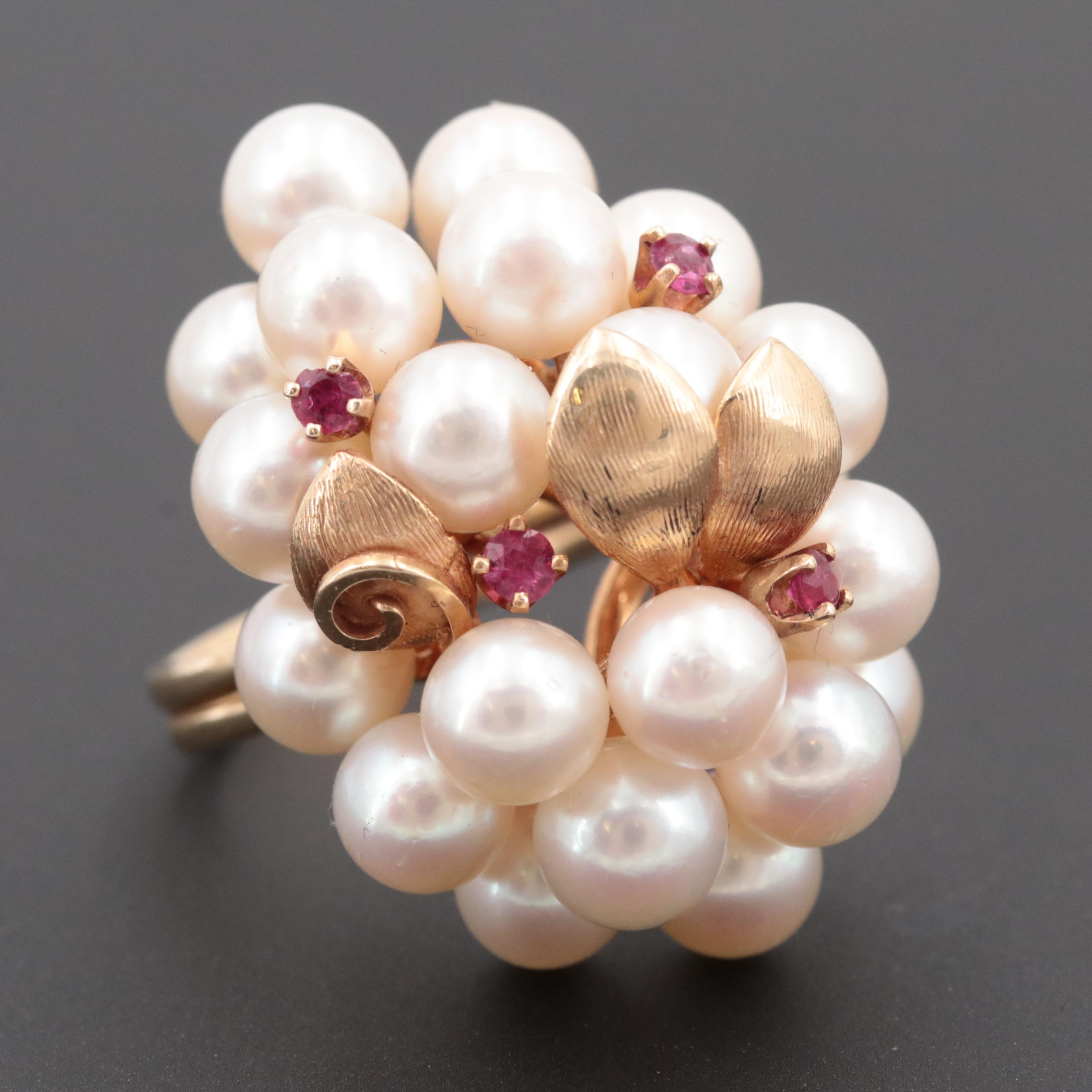 14K Yellow Gold Cultured Pearl and Ruby Cluster Ring