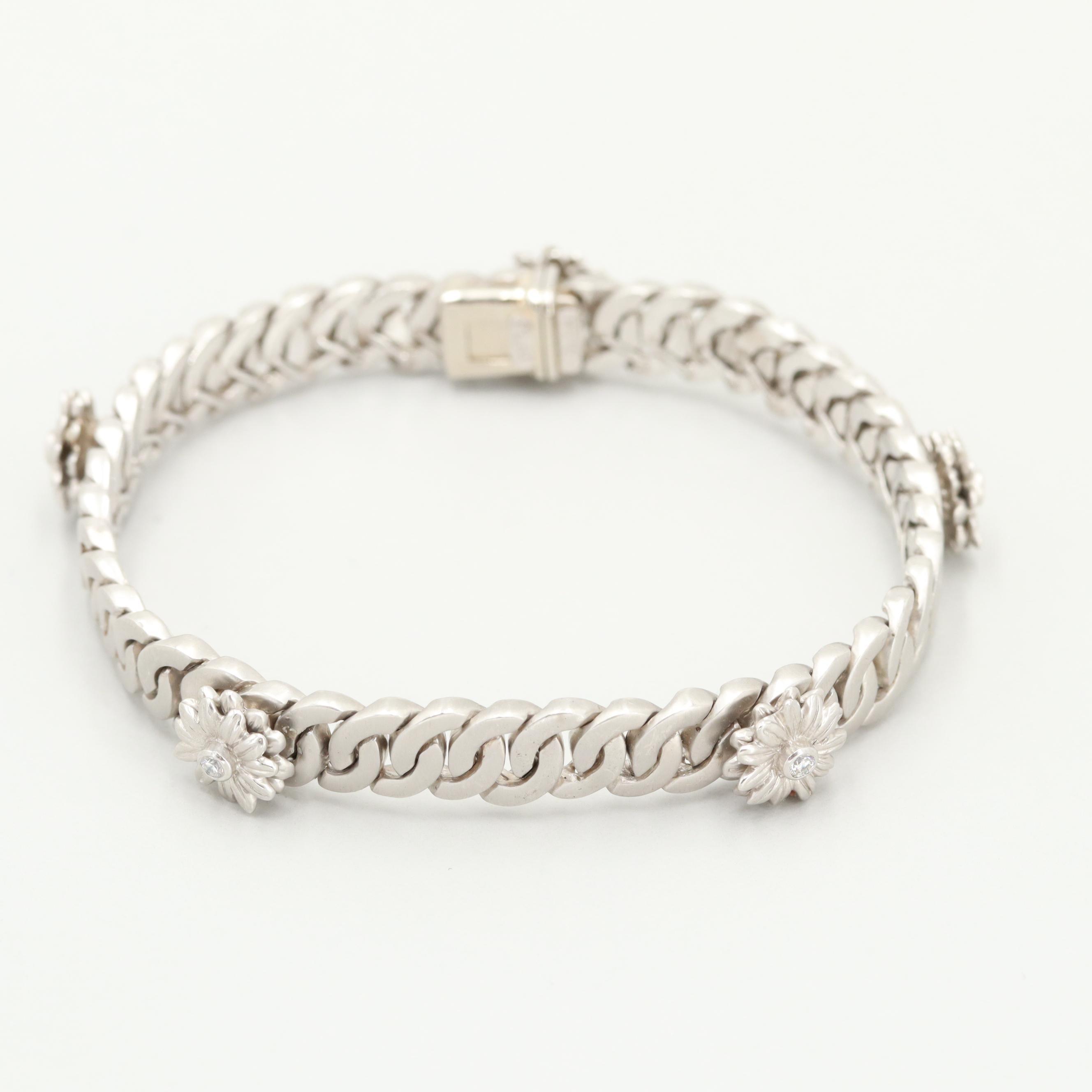 """SaraBeth Vaughan """"A Bouquet of Baubles"""" Collection Platinum Diamond Bracelet"""