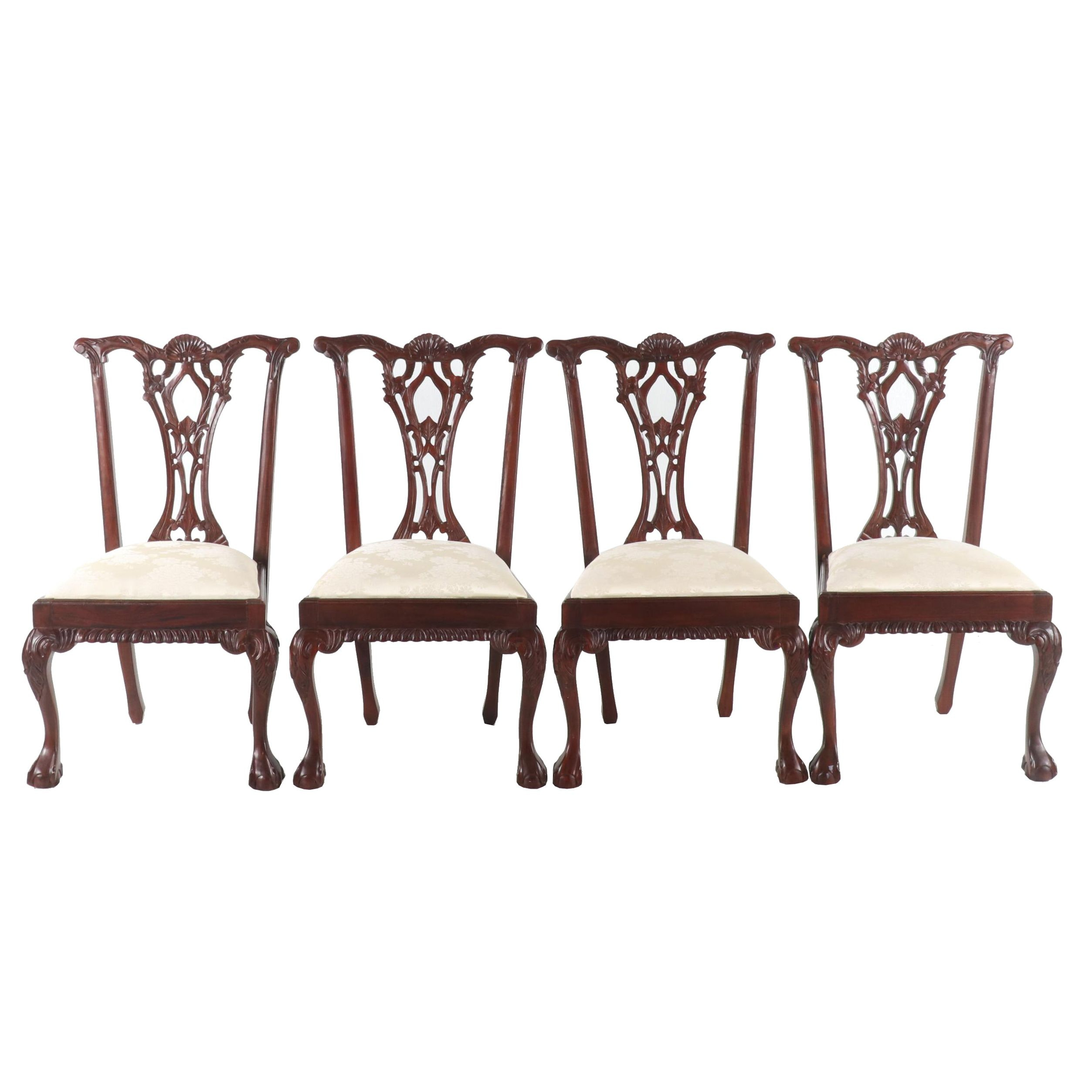 Contemporary Chippendale Style Mahogany Finish Upholstered Dining Chairs