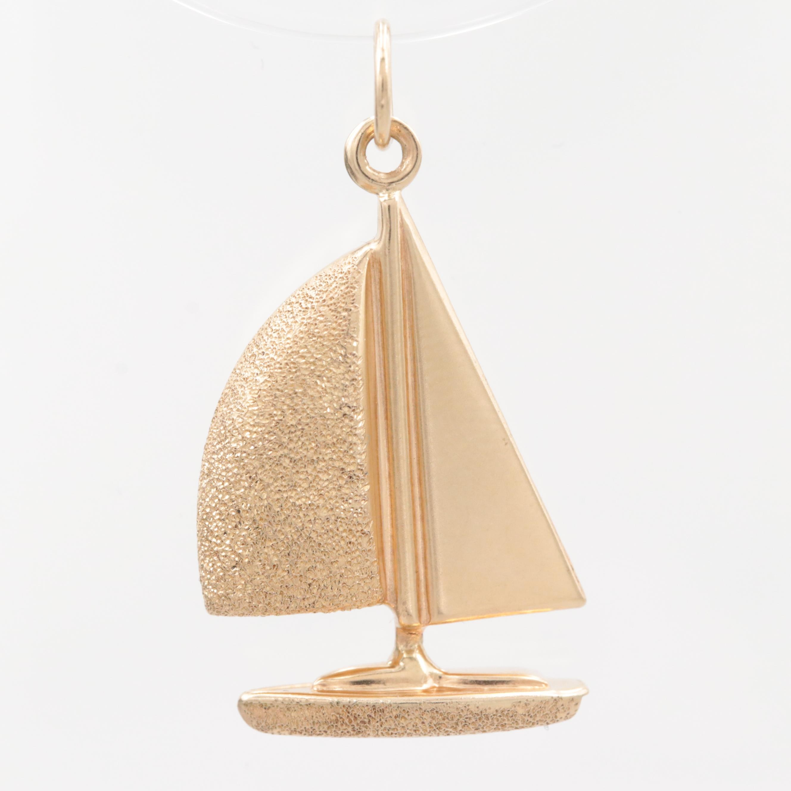 14K Yellow Gold Sailboat Pendant with Textured Accents