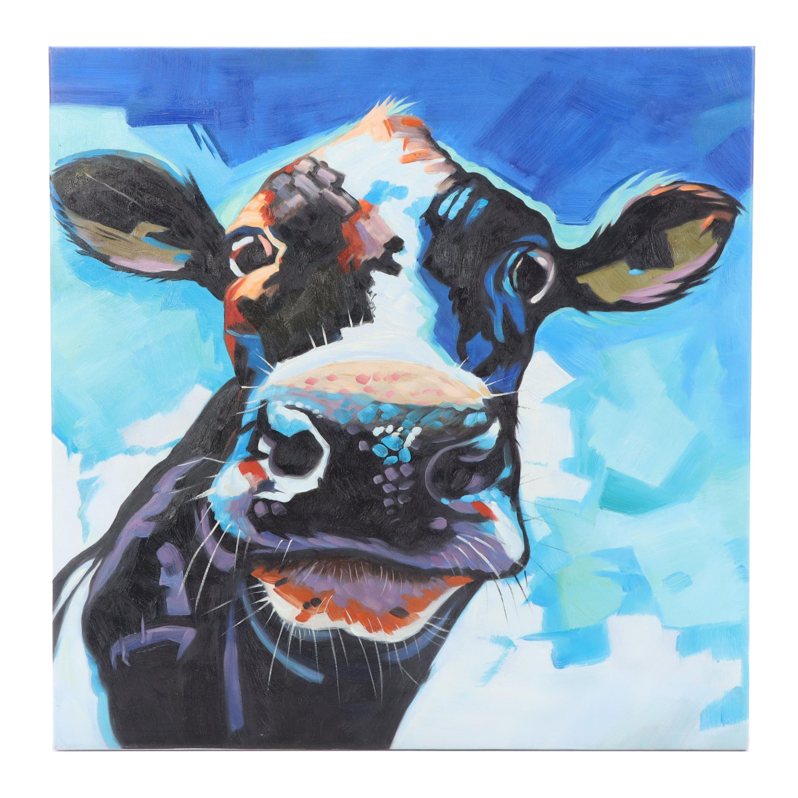 Cow Portrait Acrylic Painting