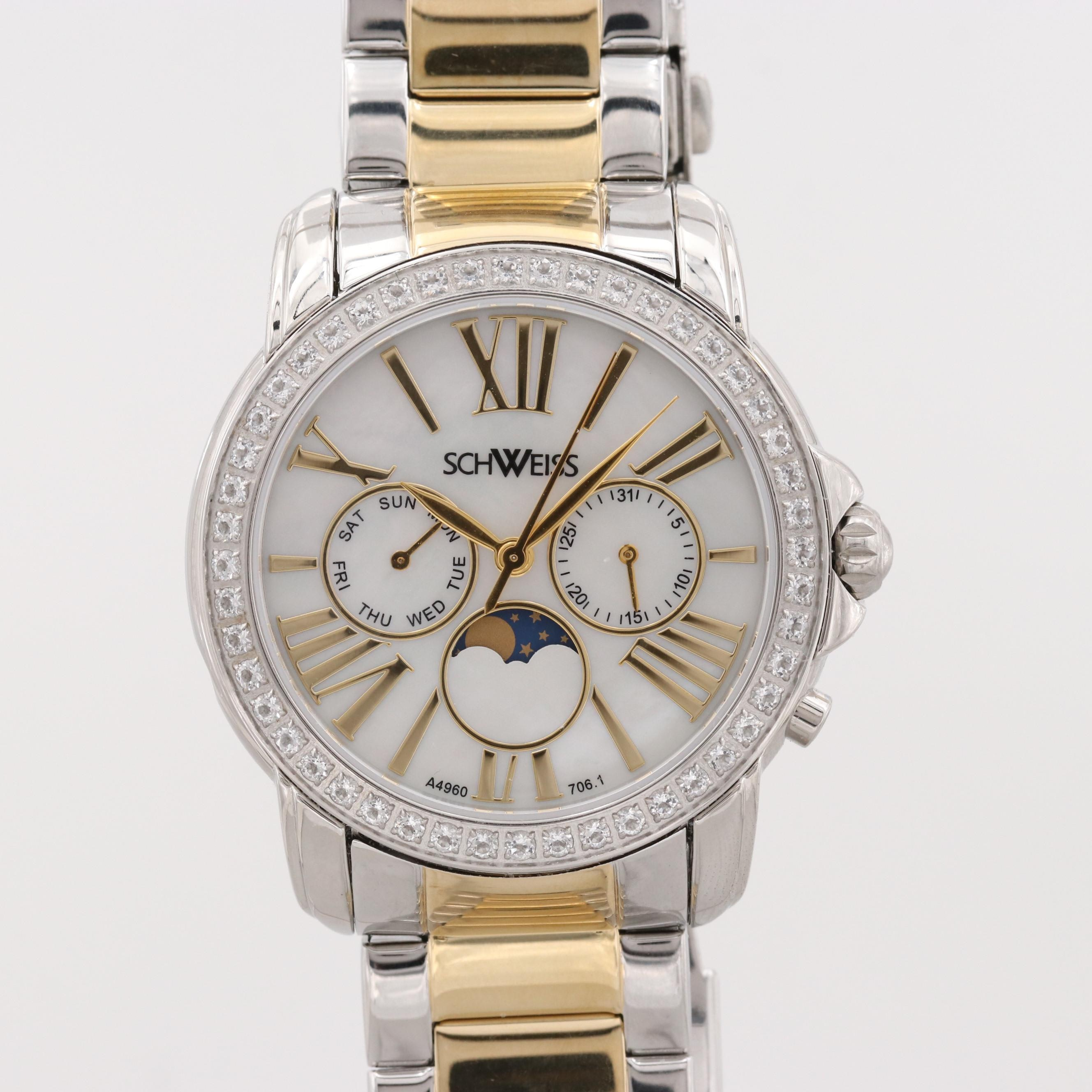 Schweiss Two-Tone Quartz Wristwatch With Calendar Moon Phase Indicator