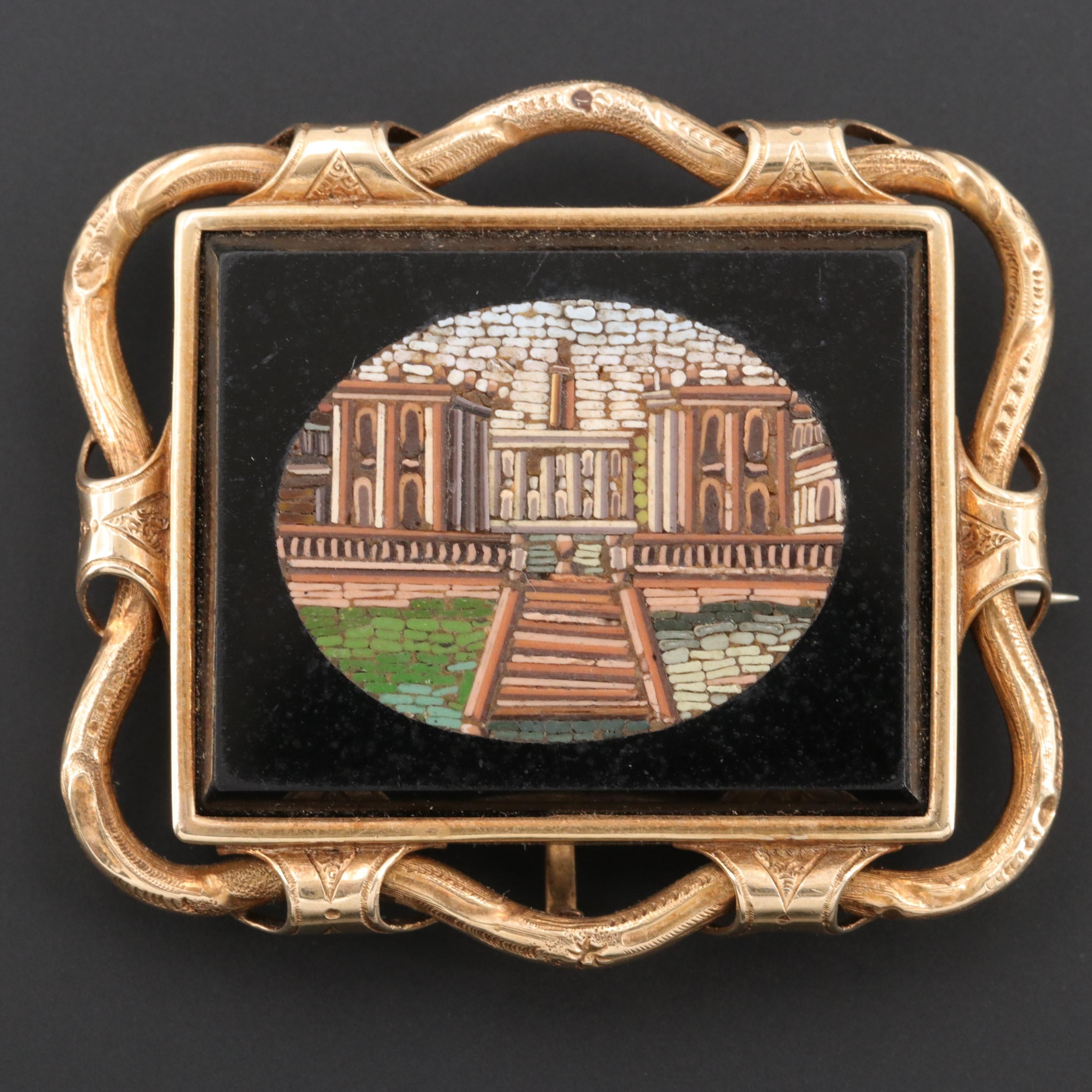Early Victorian 14K Yellow Gold Micro Mosaic Converter Brooch