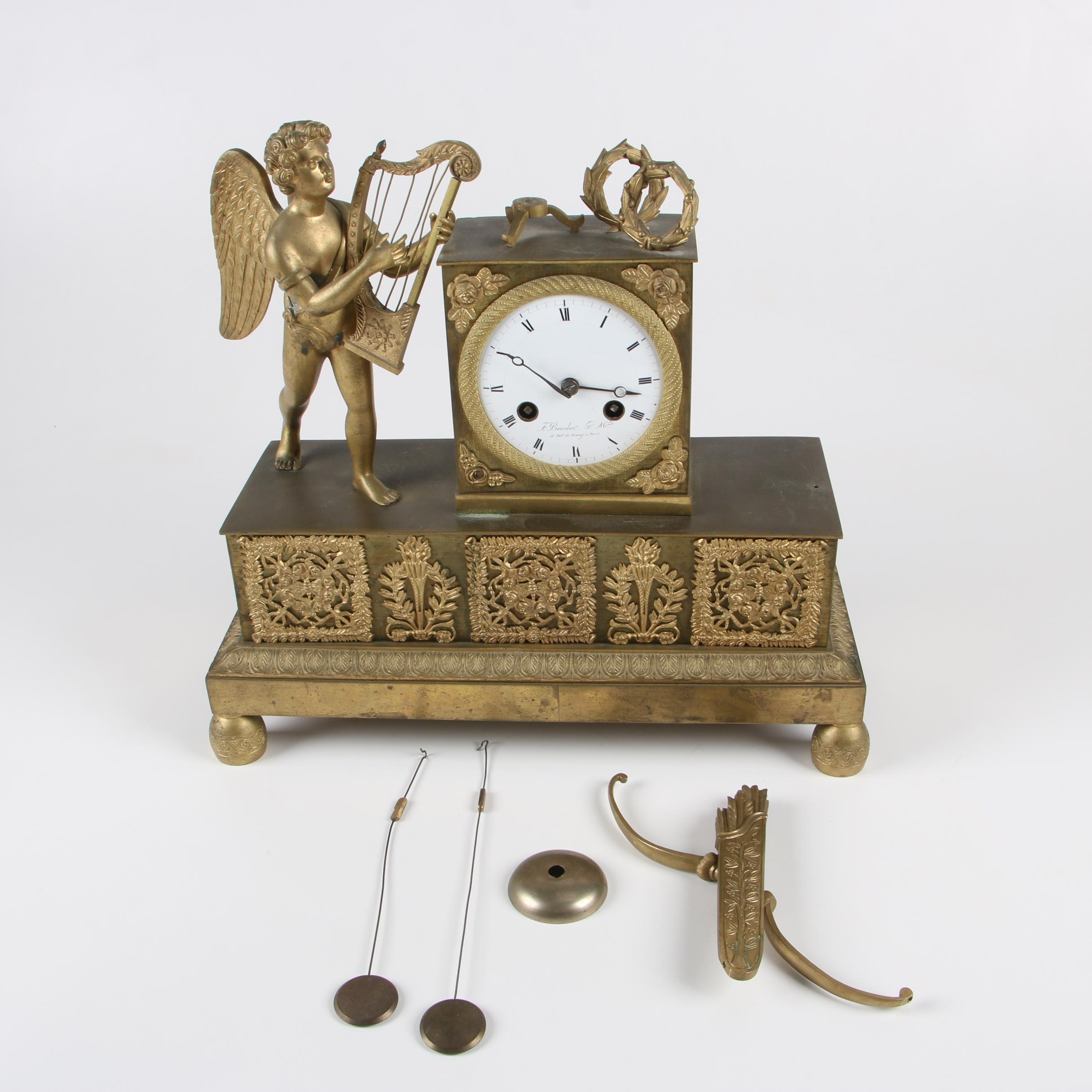 F. Bourdier French Empire Figural Ormolu Mantel Clock