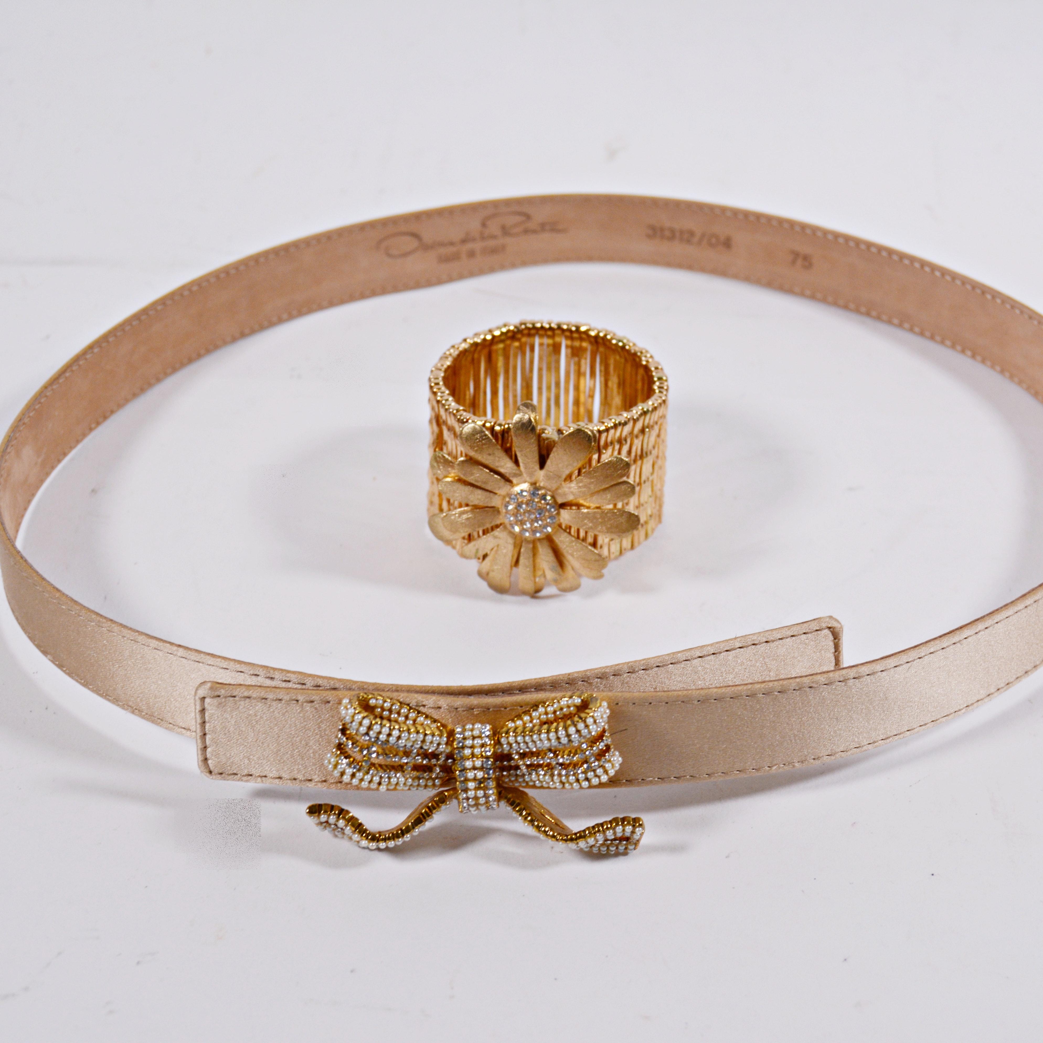 Oscar de la Renta Leather Belt and Gold Tone Crystal Bracelet