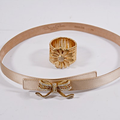 7dea7f0bc34 Gucci Lizard Embossed Cream Leather Belt with Gold Tone Interlocking ...
