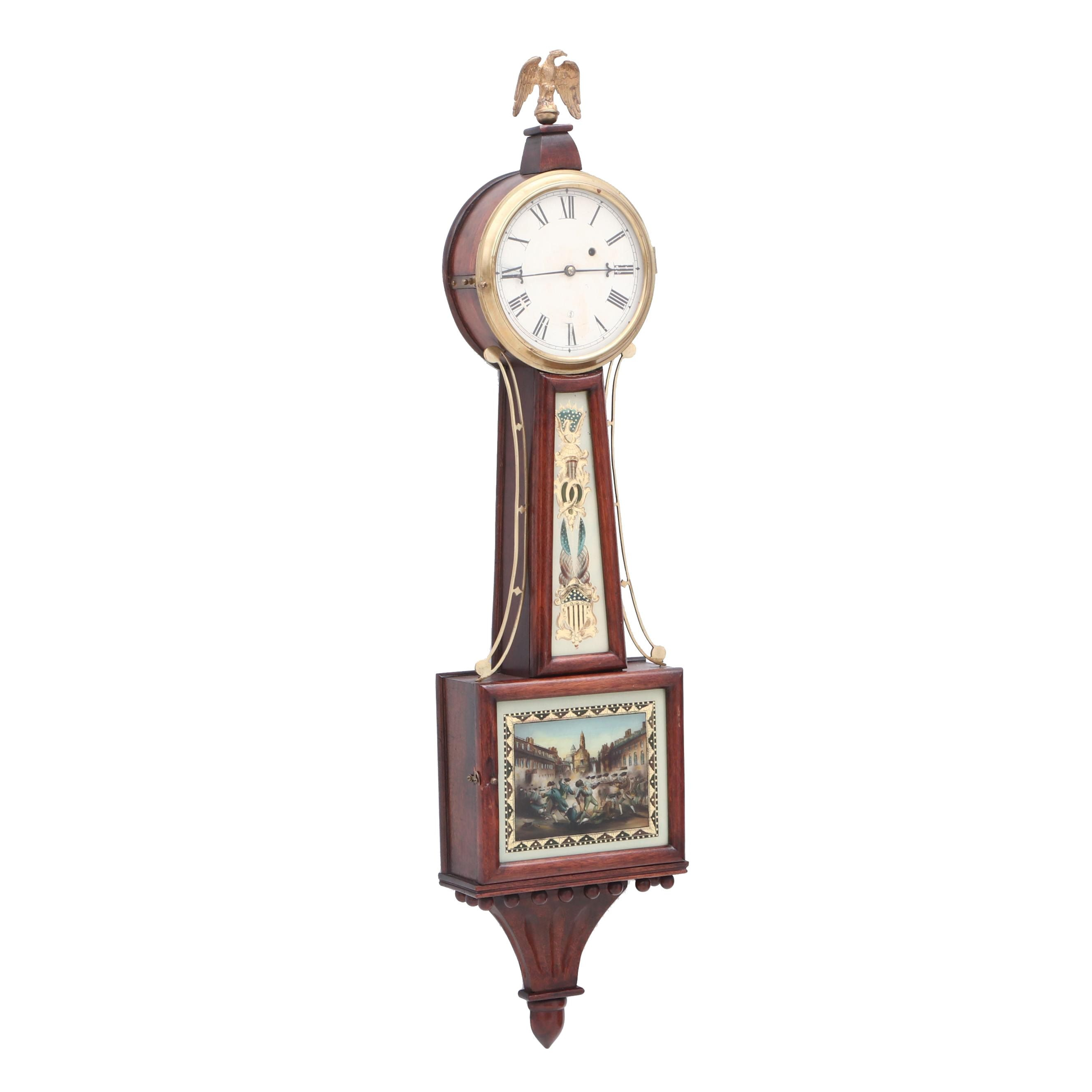 Copy Banjo Clock with Reverse Painted Revolutionary War Scenes and Eagle Crest