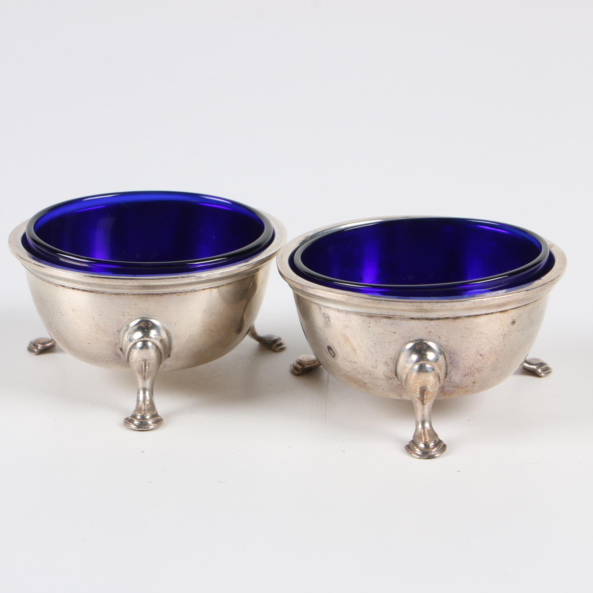 Redlich & Co. Sterling Salt Cellars with Cobalt Glass Inserts, 1895–1946