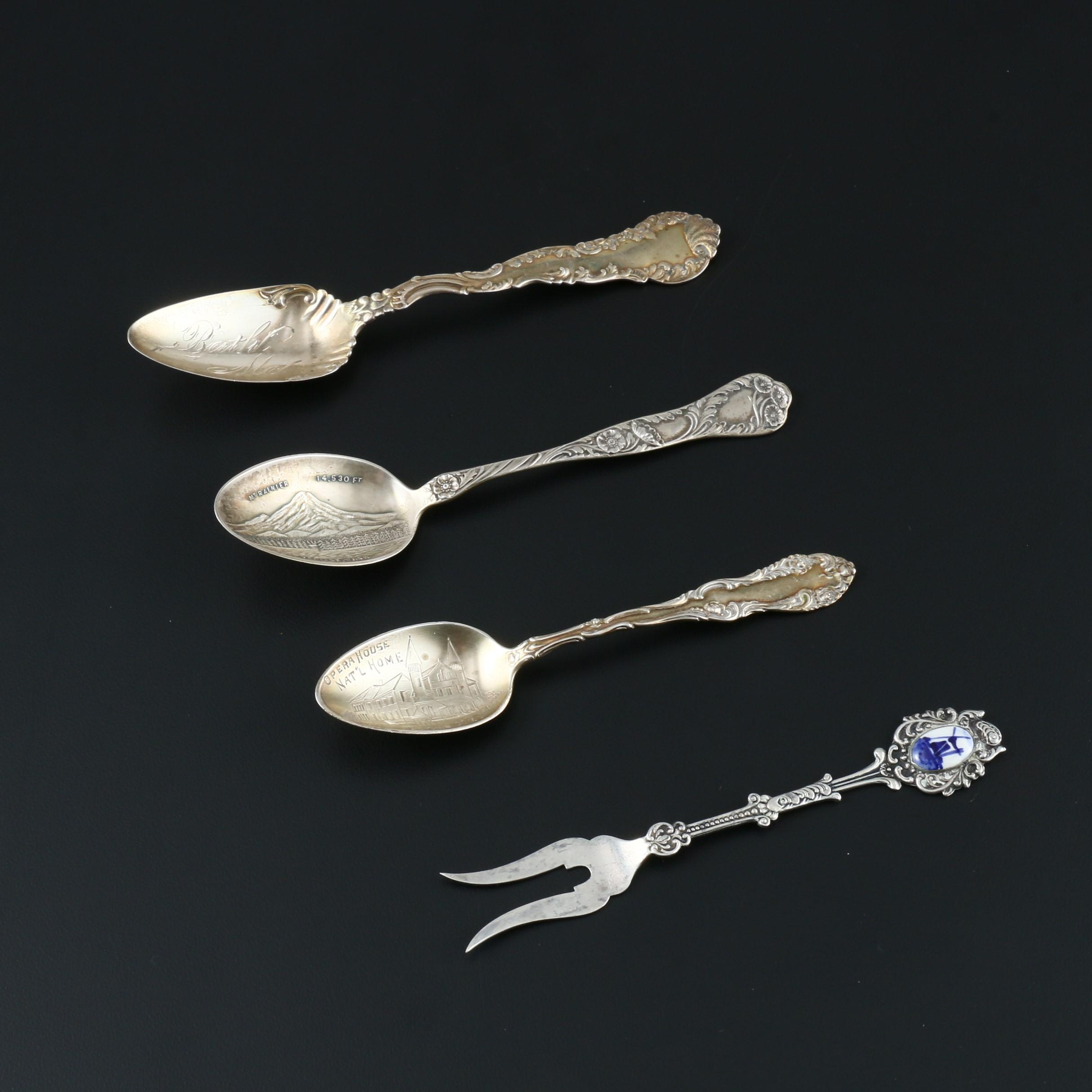 Sterling Silver Souvenir Spoons and 800 Silver Lemon Fork