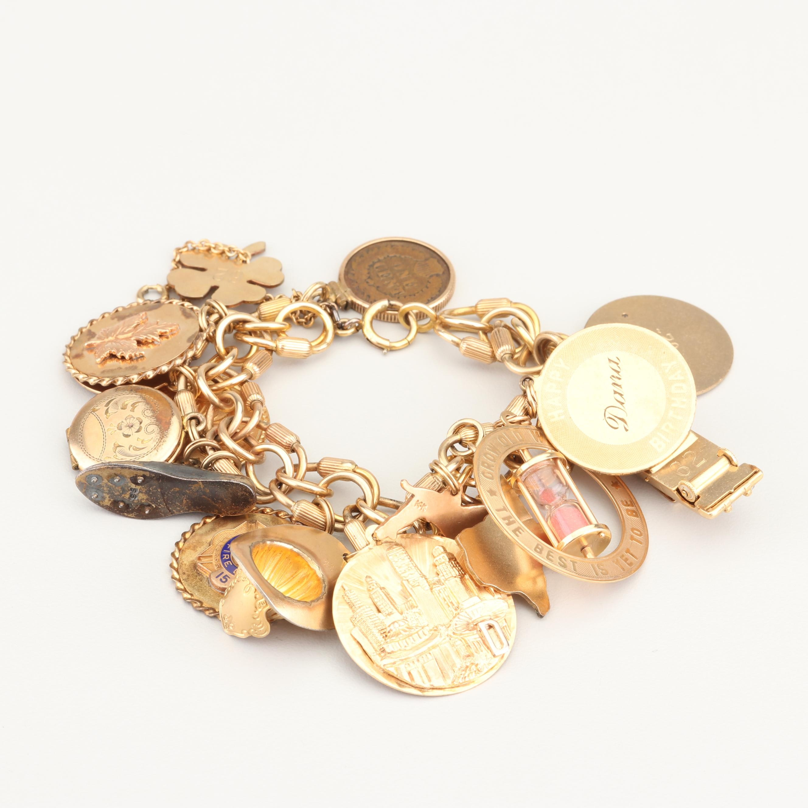 Vintage 12K Yellow Gold Filled Bracelet with 14K Gold and Gold Filled Charms