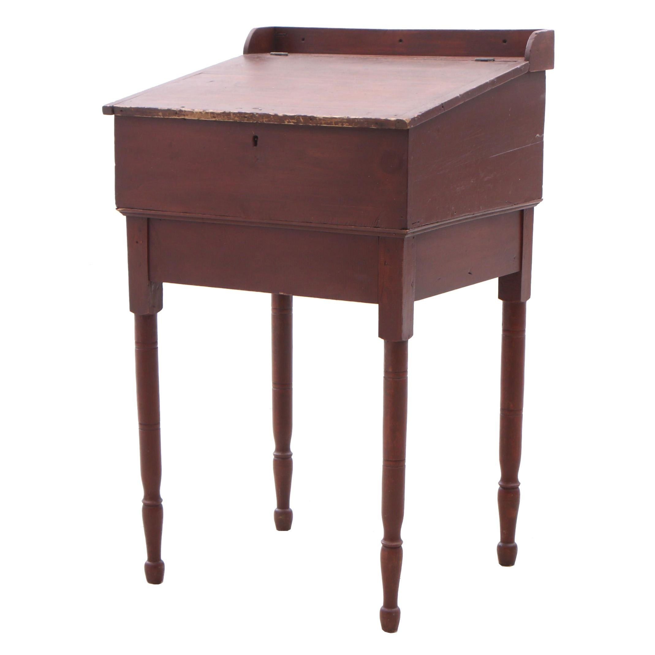 Pine and Red Wash Finish School Masters Desk, Ca 1830s