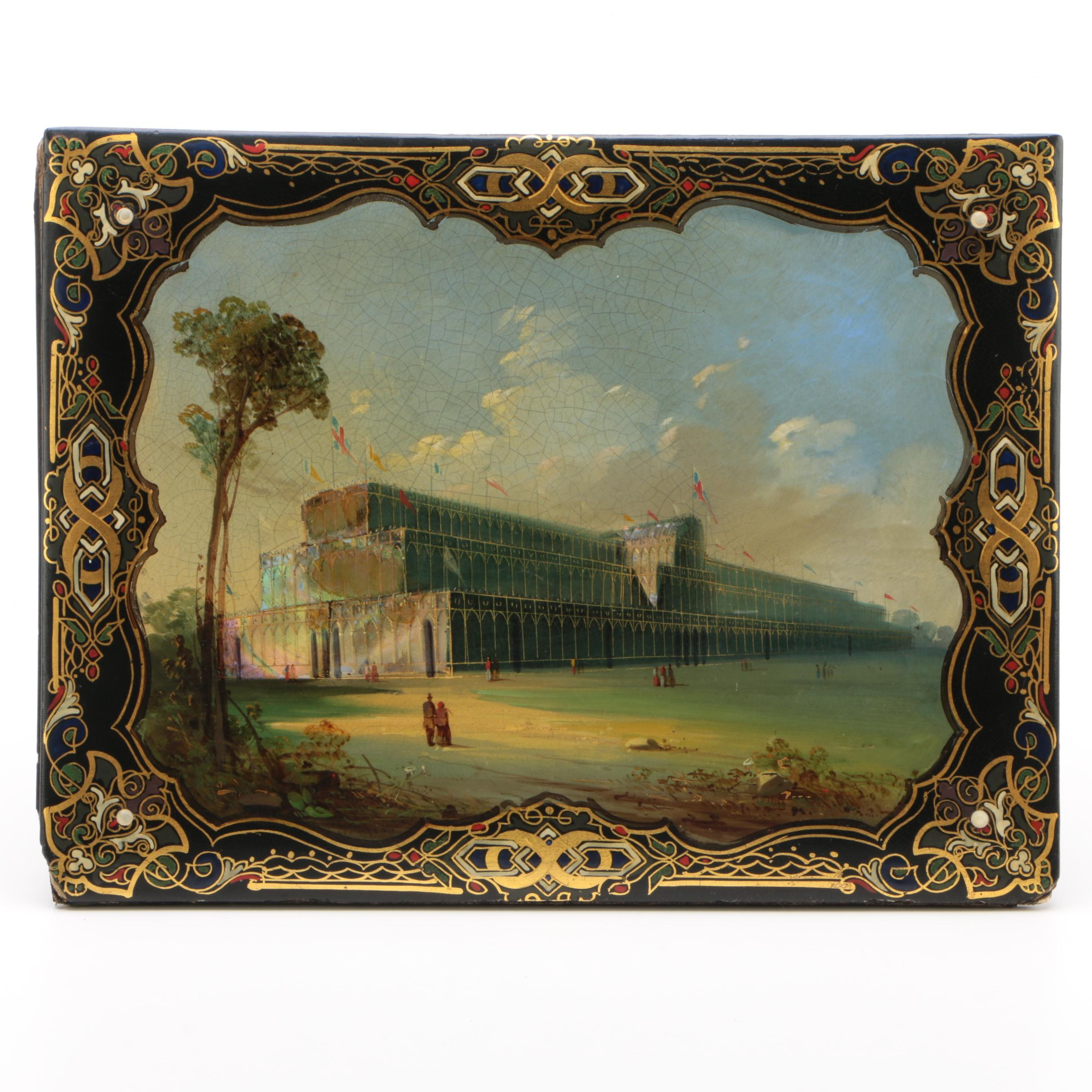 Crystal Palace Souvenir Lacquered Papier-Mâché Blotter with Abalone Inlay