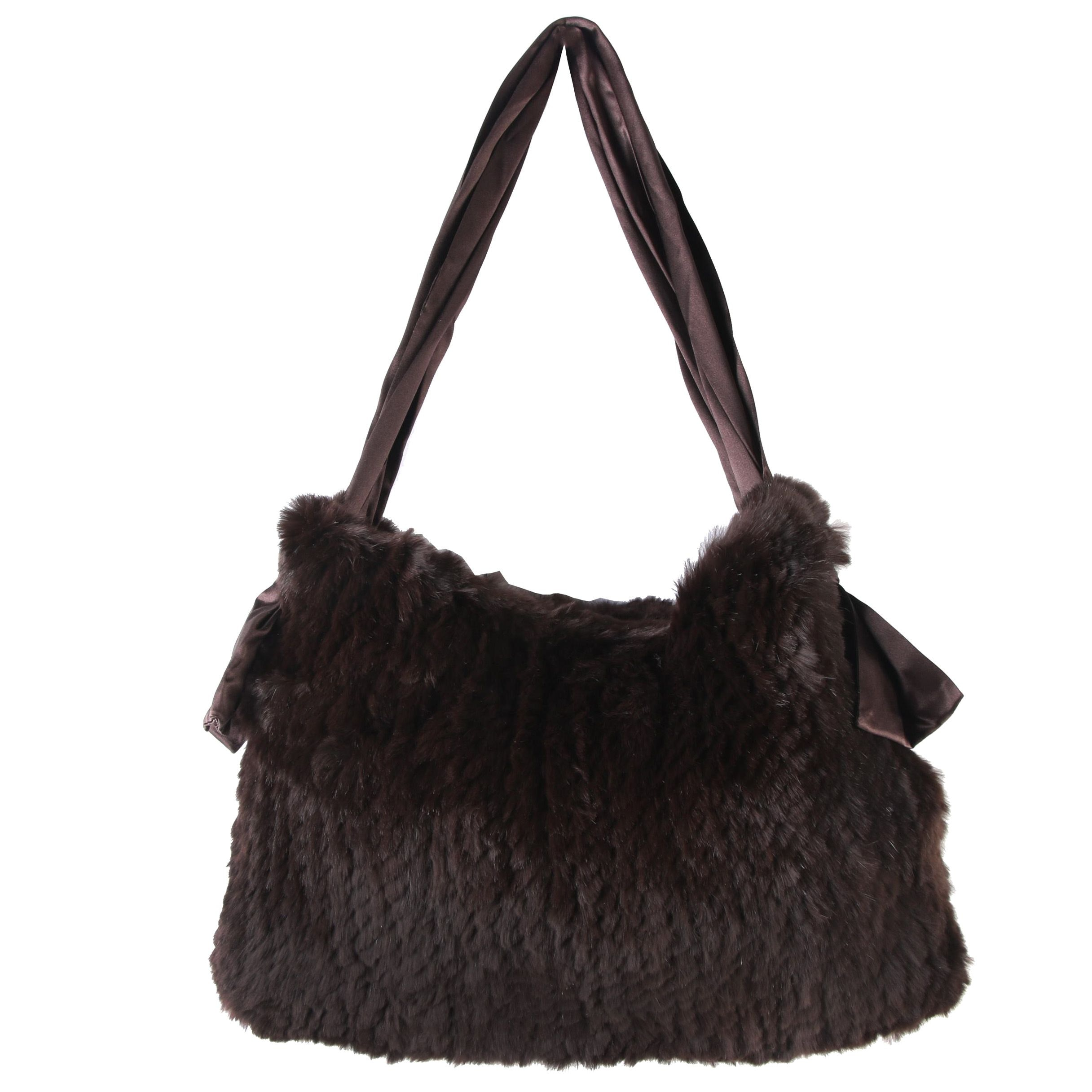 Funky East Dark Brown Knitted Rabbit Fur and Satin Shoulder Bag