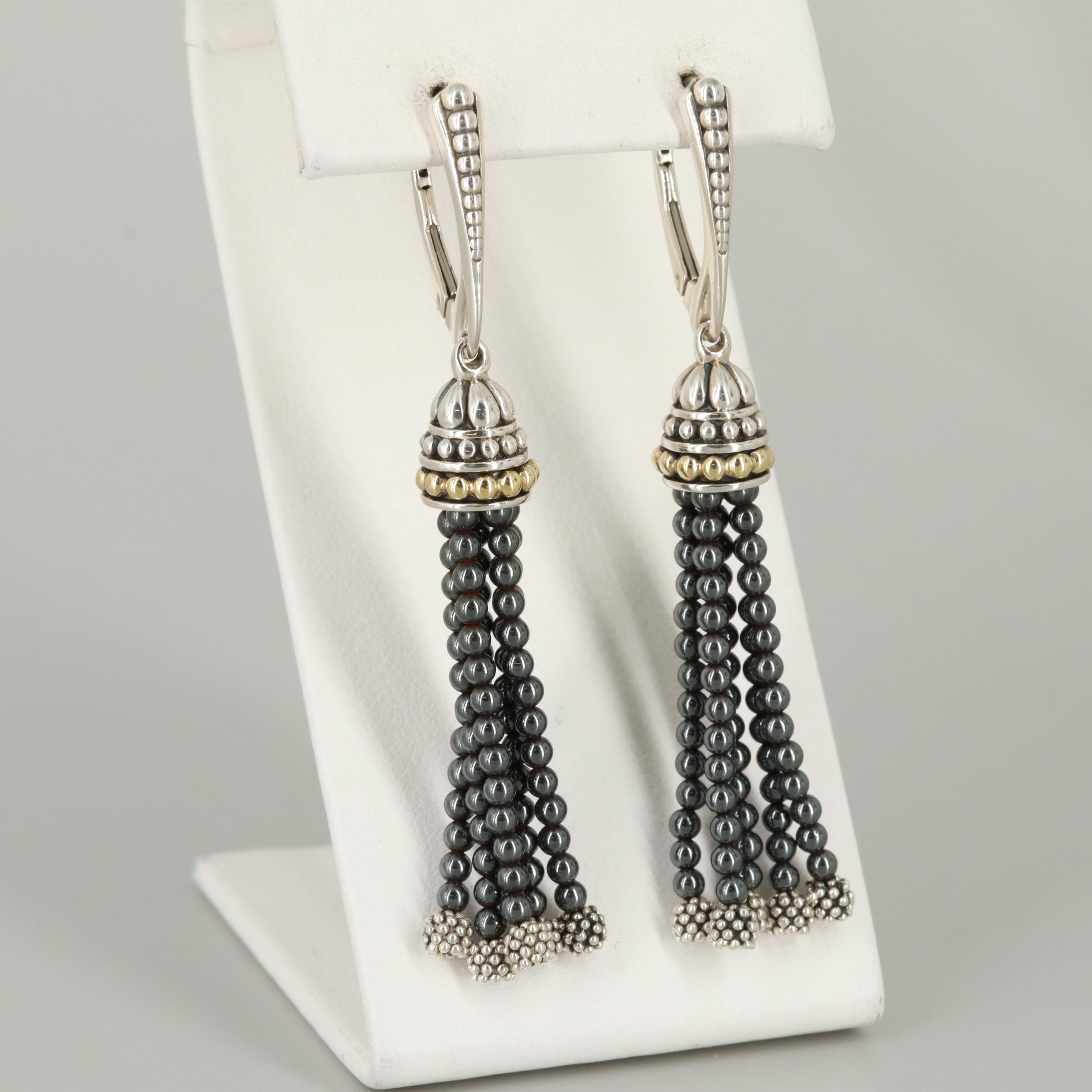 Caviar by Lagos Sterling Silver Earrings with 18K Yellow Gold Accents