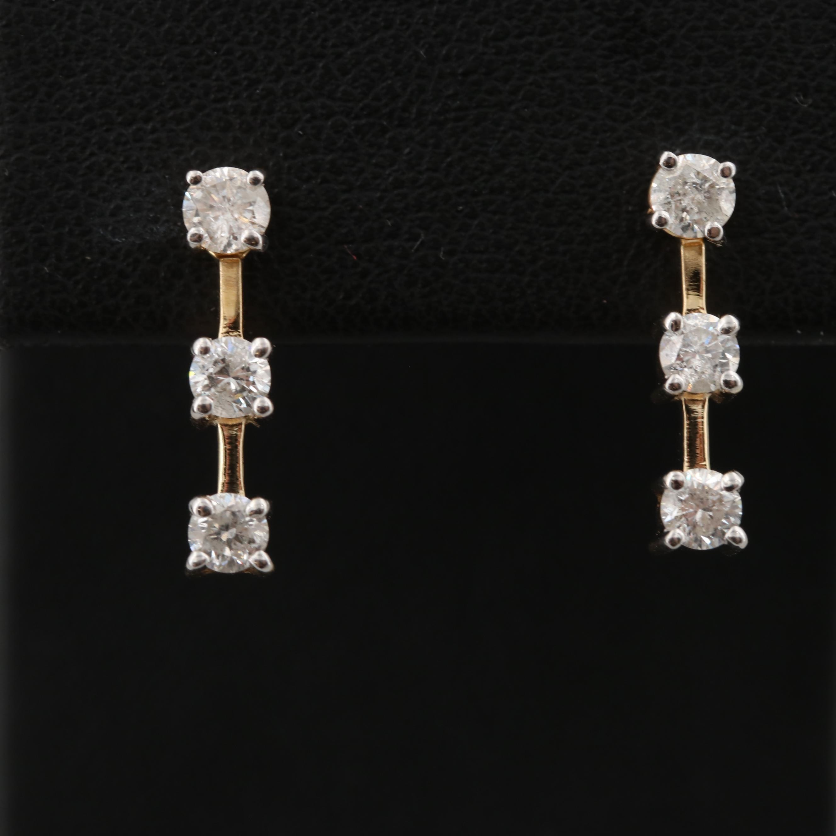 14K Yellow Gold Diamond Stud Earrings with Jackets