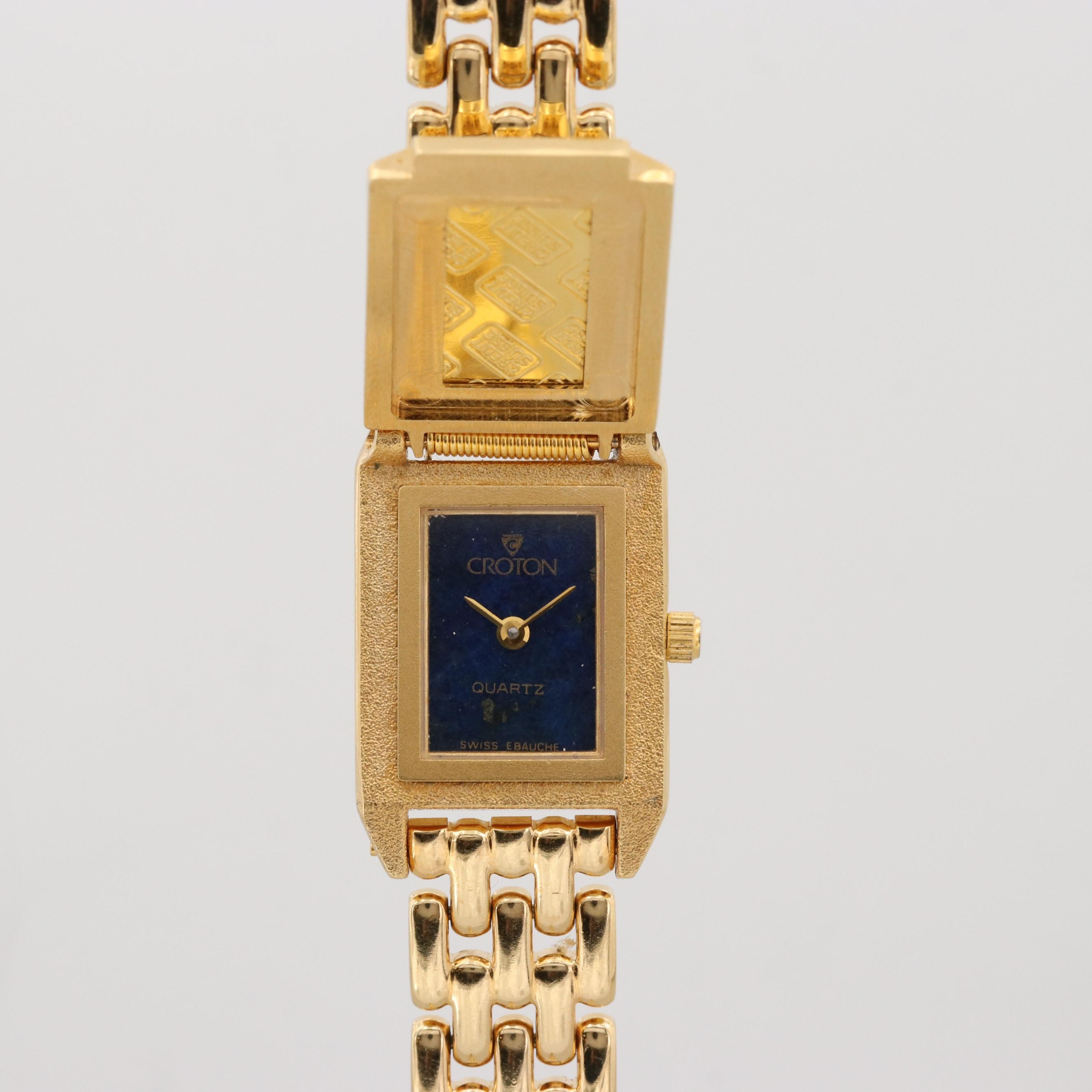 Croton Gold Ingot Hidden Dial Quartz Wristwatch with Lapis Lazuli Dial