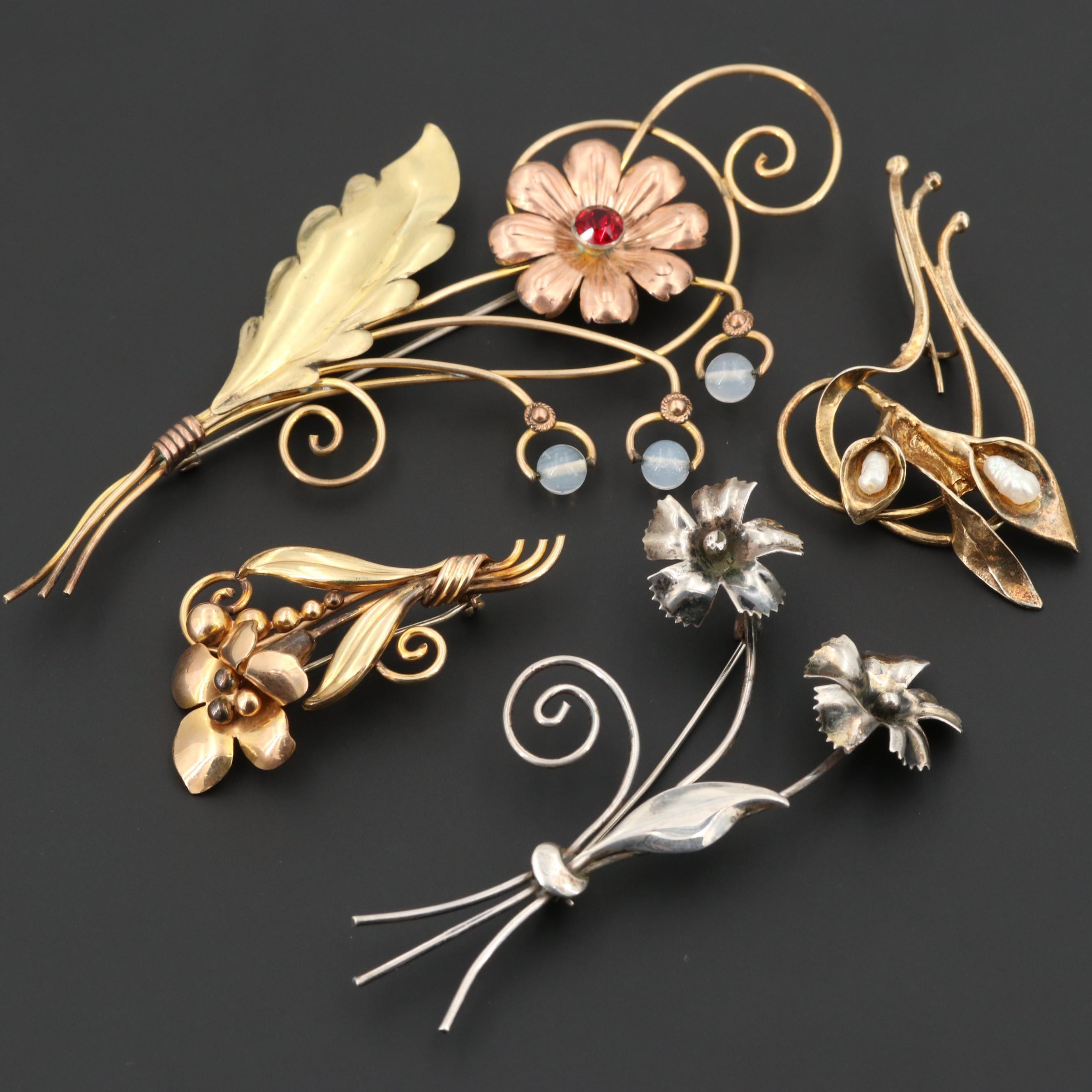 Sterling and Gold Filled Cultured Pearl Brooches Featuring CarlArt and Van Dell