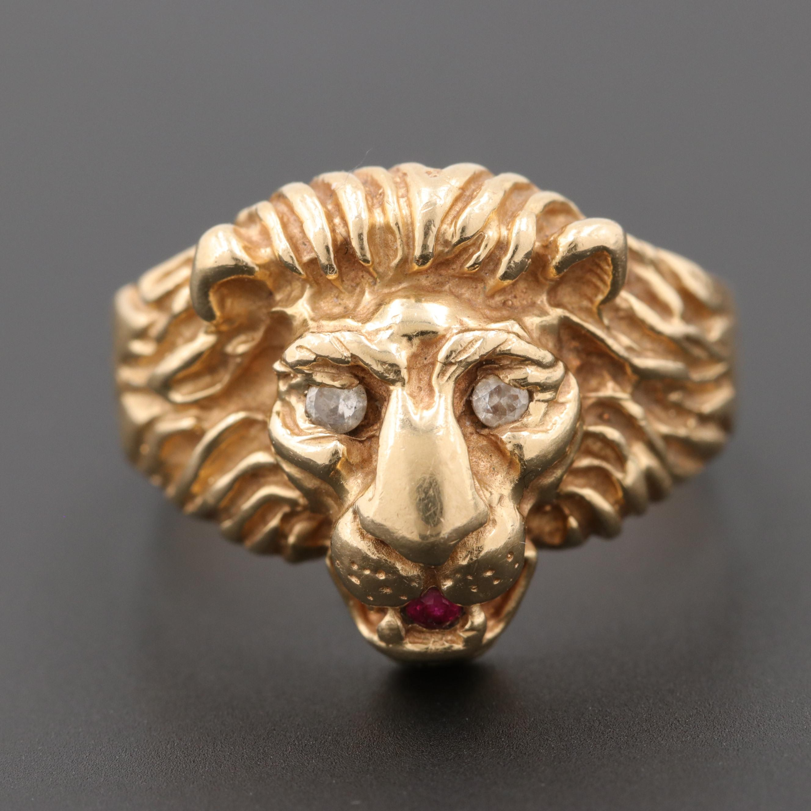 14K Yellow Gold Diamond, Cubic Zirconia, and Ruby Lion Head Ring