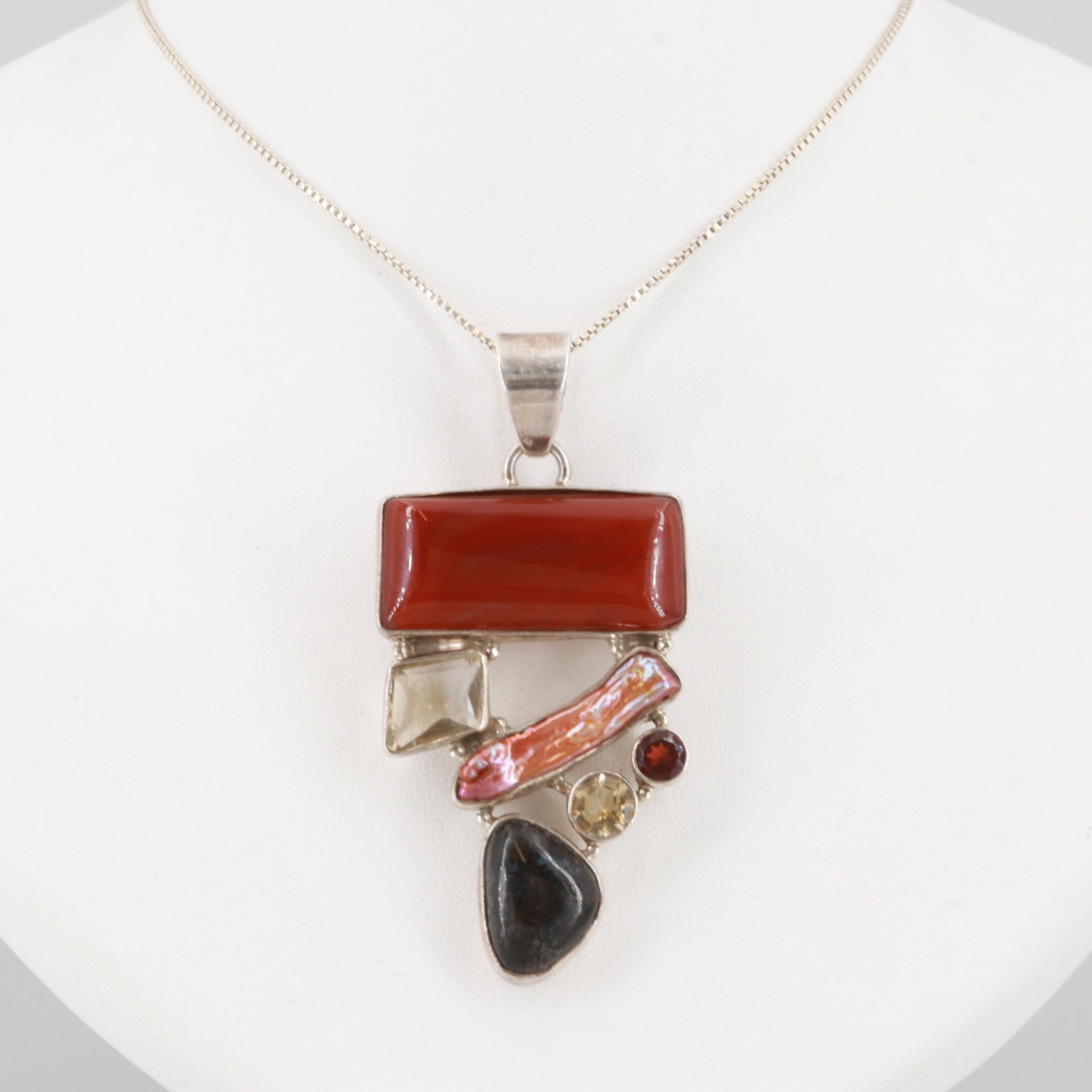 Sterling Silver Carnelian, Cultured Pearl, and Boulder Opal Pendant Necklace