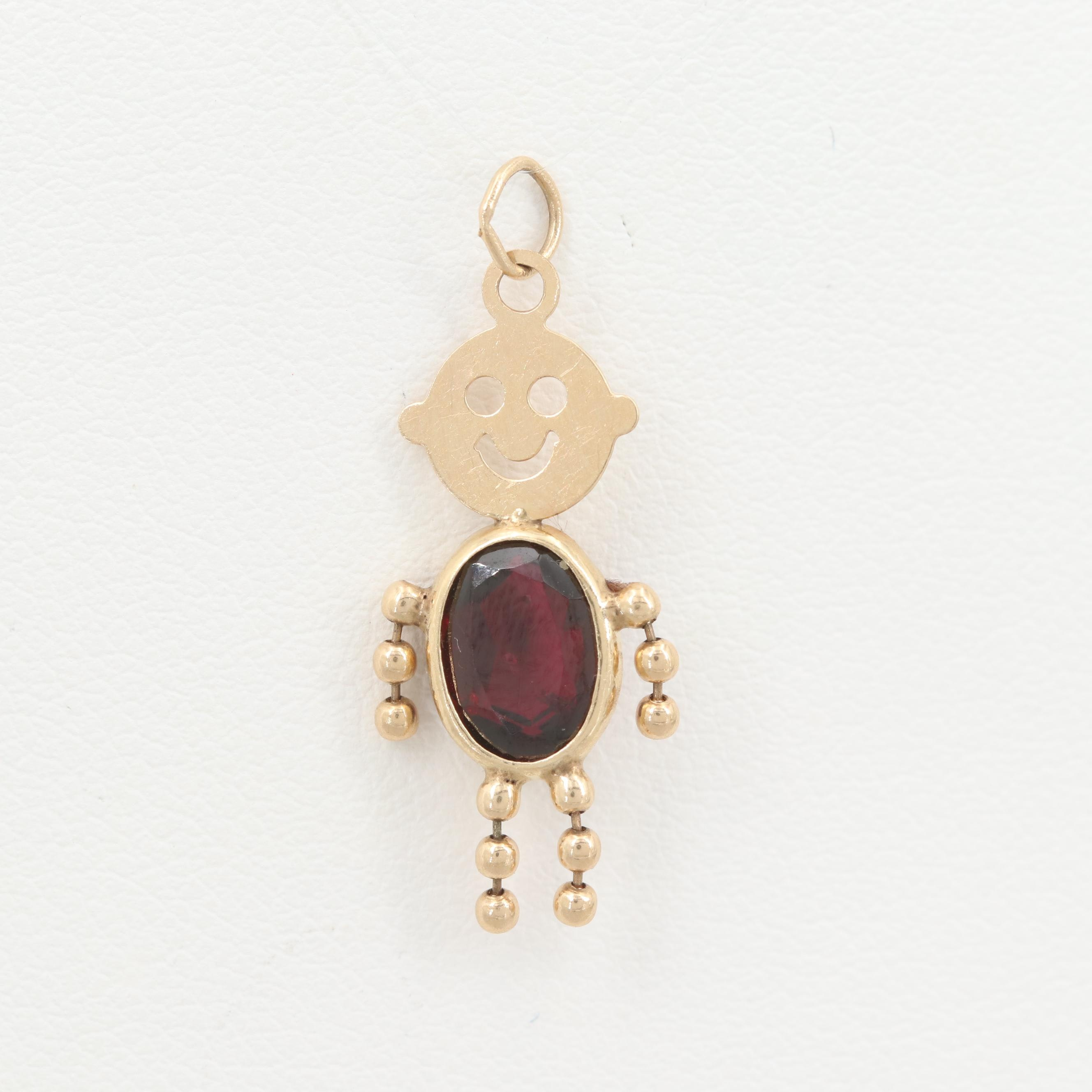 14K Yellow Gold Childrens Garnet Birthstone Pendant